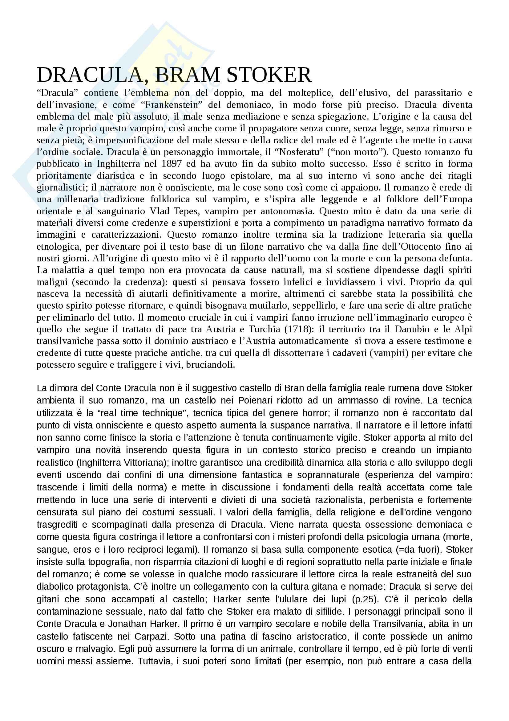 """""""Dracula"""": analisi approfondita del testo e contesto - Letteratura Inglese"""