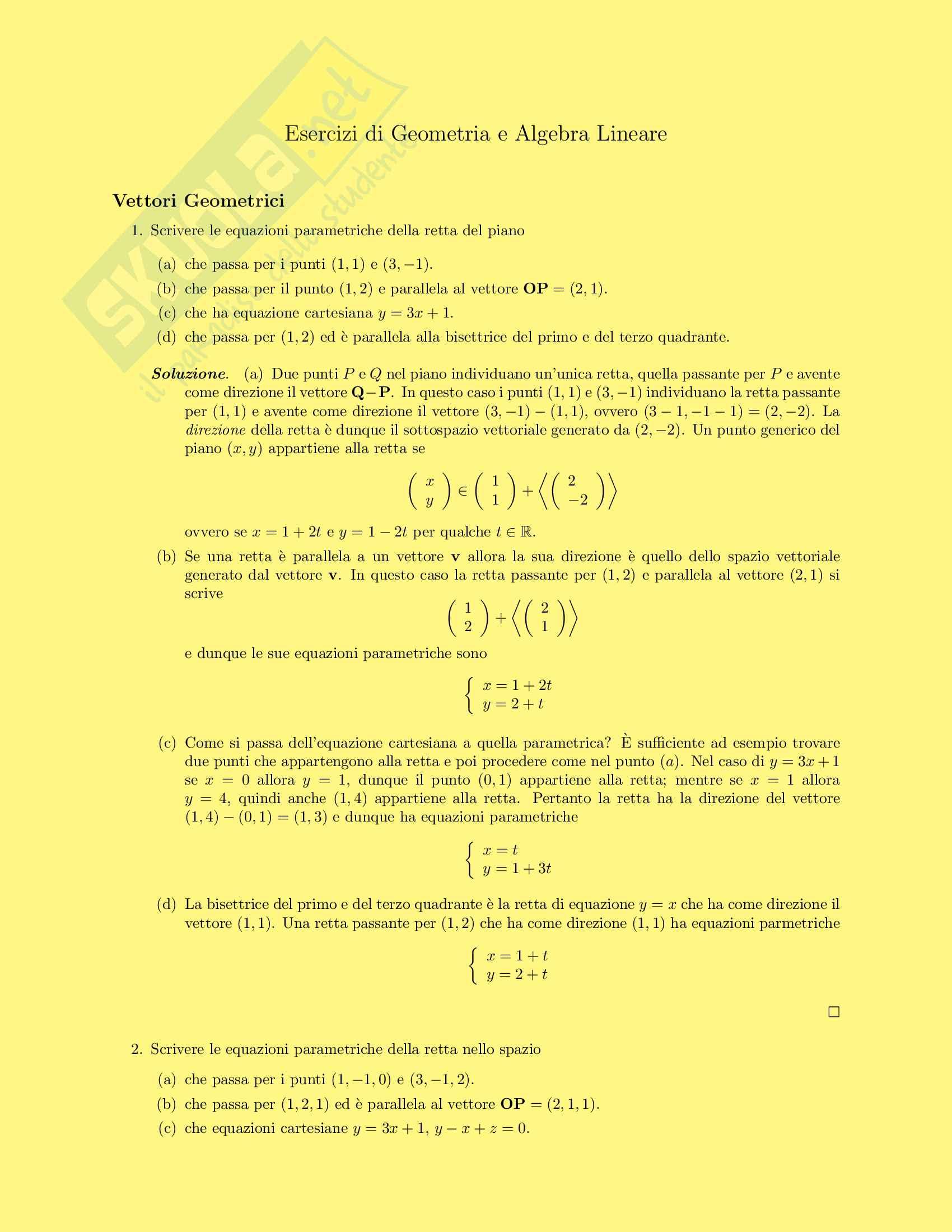 esercitazione B. Chiarellotto Geometria e algebra lineare
