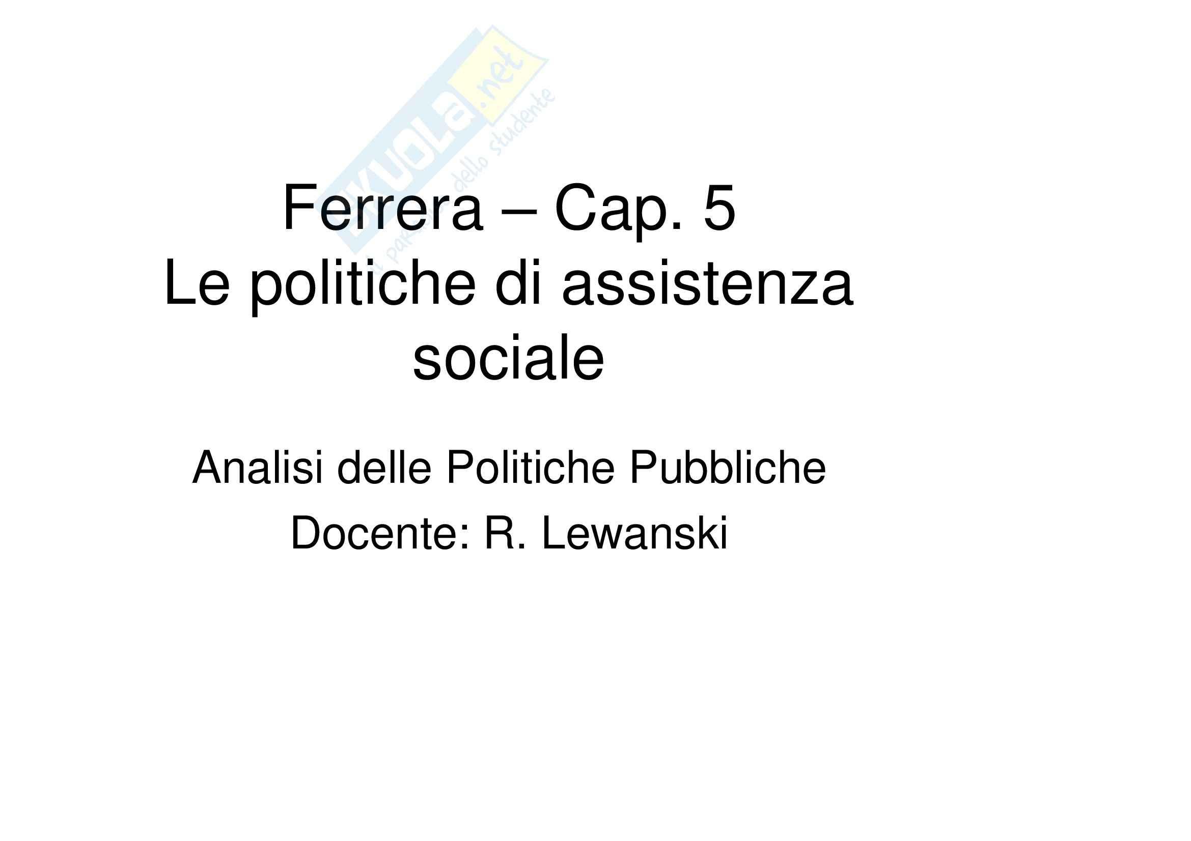 Le politiche sociali, Ferrera - Appunti cap. 1