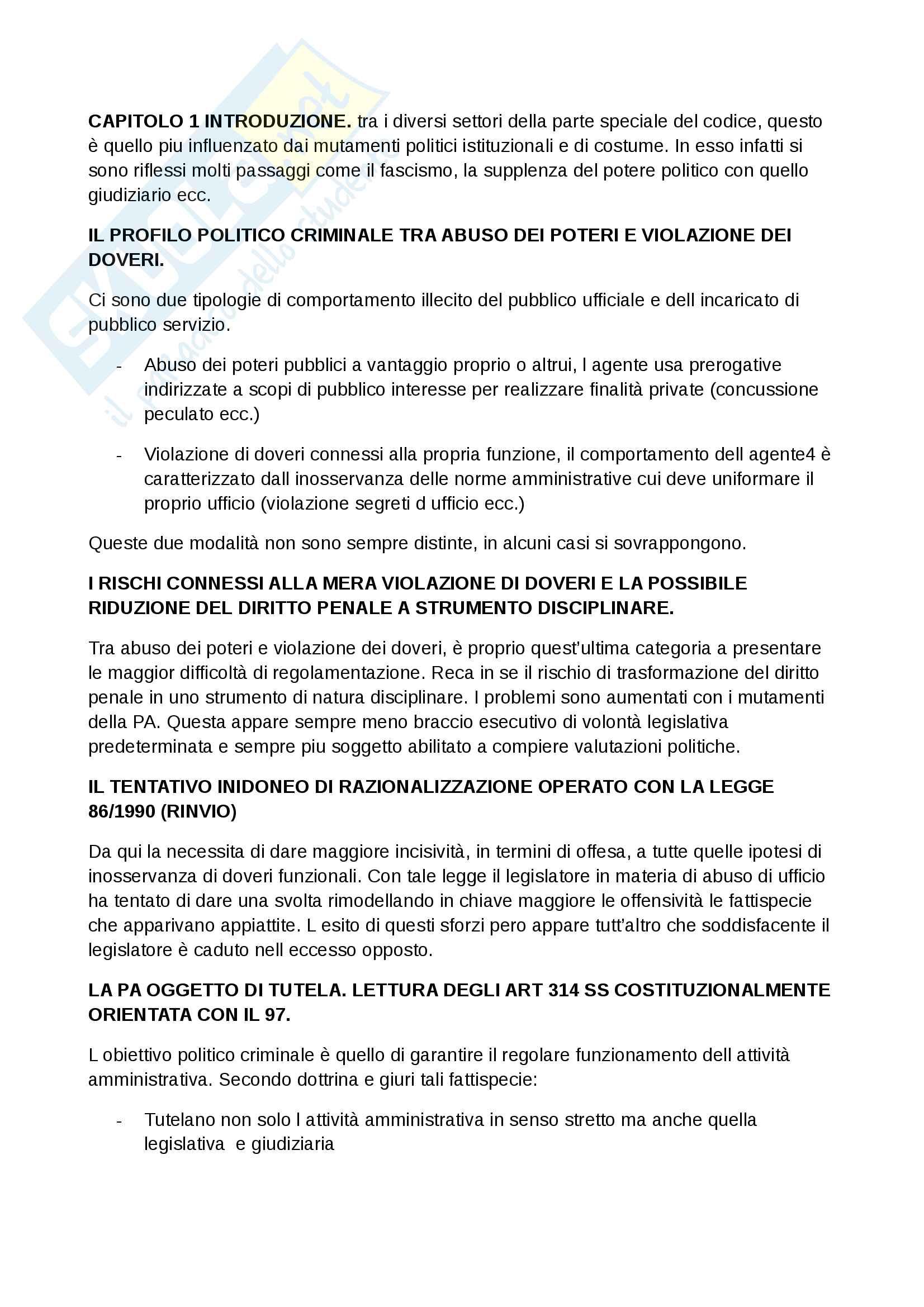 Riassunto esame Diritto penale 2, professore Catenacci, libro consigliato Reati contro la pubblica amministrazione