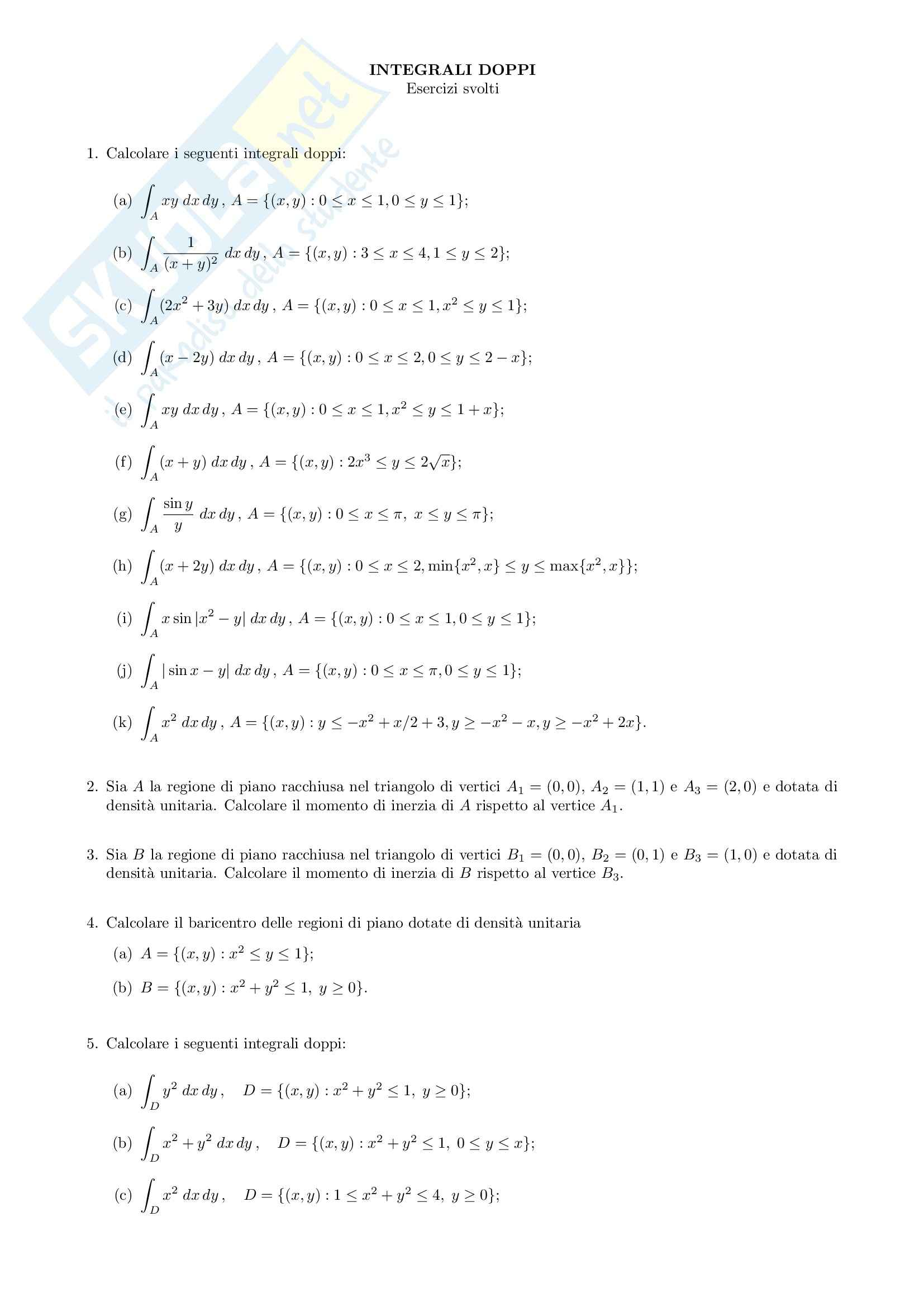 integrali matematica  Analisi matematica II - integrali doppi - Esercizi