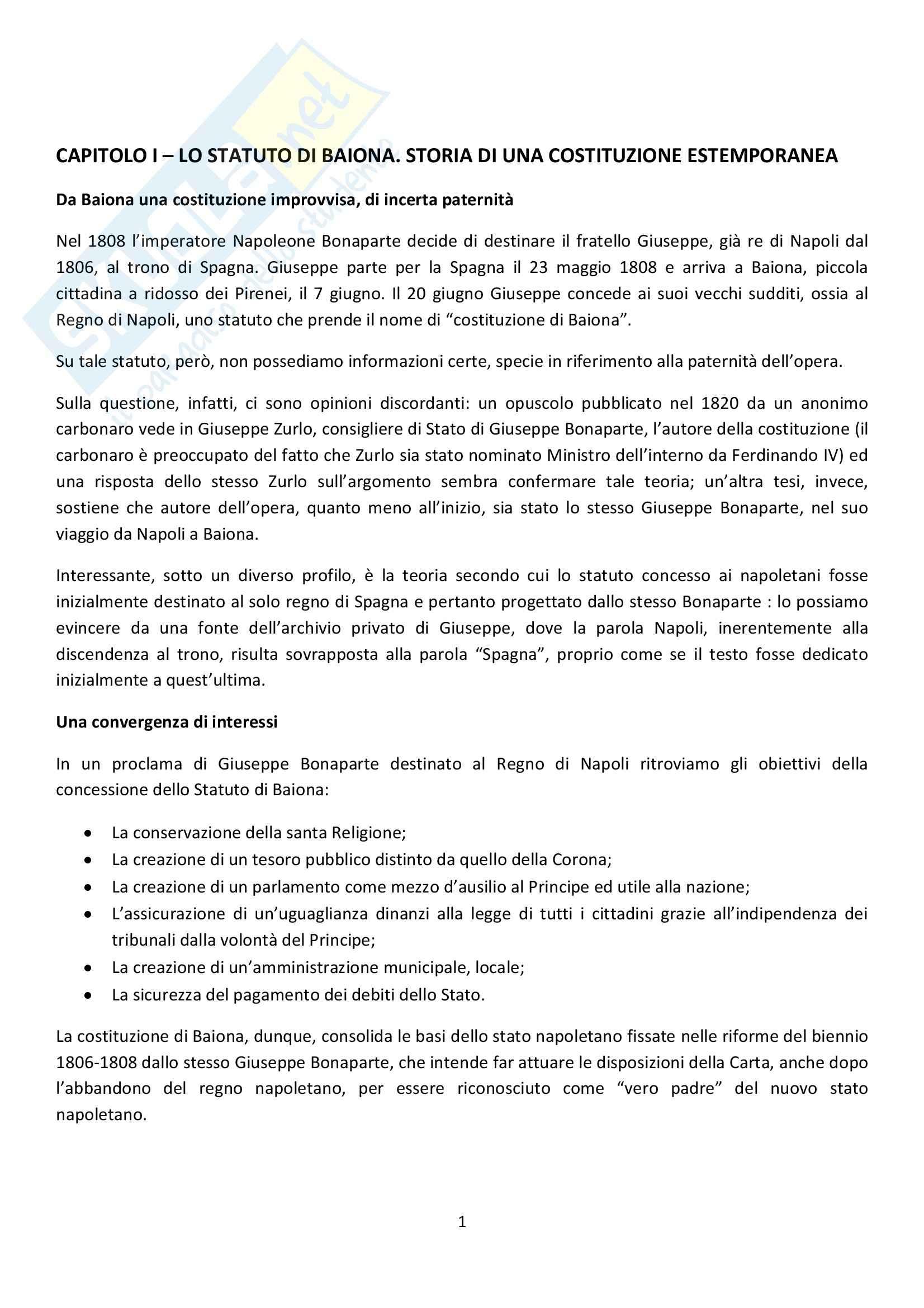 Riassunto esame Diritto Costituzionale, prof. Rodio, libro consigliato Da Baiona a Tolentino di Mastroberti
