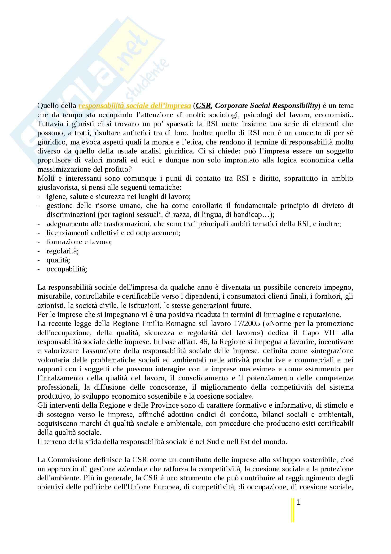 Riassunto esame Diritto Del Lavoro, prof. Tullini, libro consigliato Lavoro e Responsabilità Sociale dell'Impresa, Montuschi, Tullini