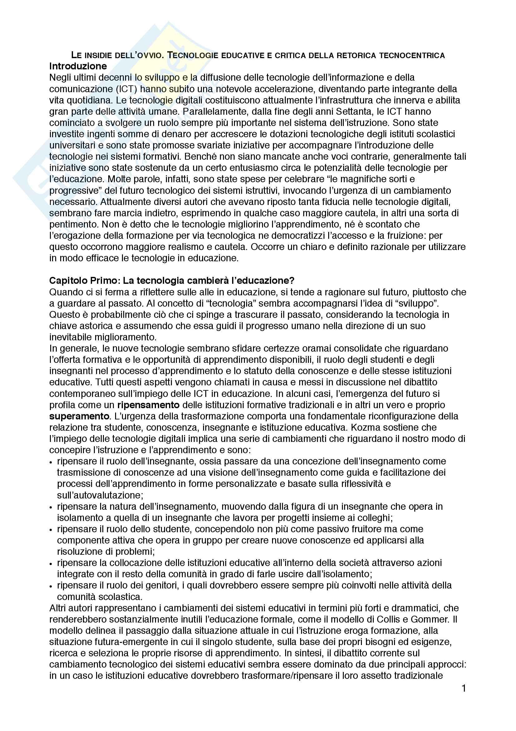 """Riassunto esame Tecnologie dell'istruzione e dell'apprendimento, prof.ssa Maria Ranieri, libro consigliato """"Le insidie dell'ovvio. Tecnologie educative e critica della retorica tecnocentrica"""", Maria Ranieri"""