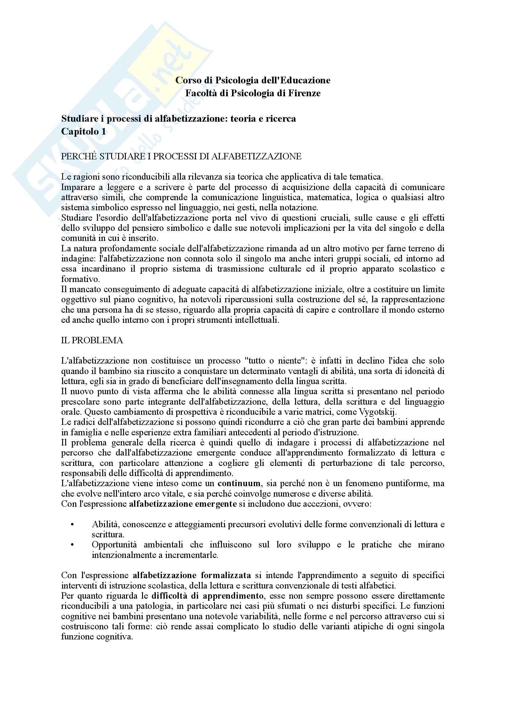 Riassunto esame Psicologia dell'Educazione, prof. Pinto, libro consigliato Il suono, il segno, il significato, Pinto
