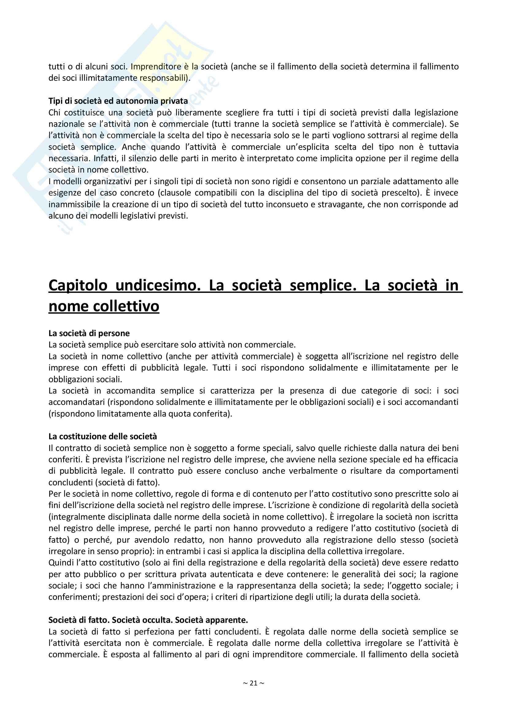 Riassunto esame Diritto Commerciale, prof. Palmieri, libro consigliato Manuale di Diritto Commerciale, Campobasso Pag. 21