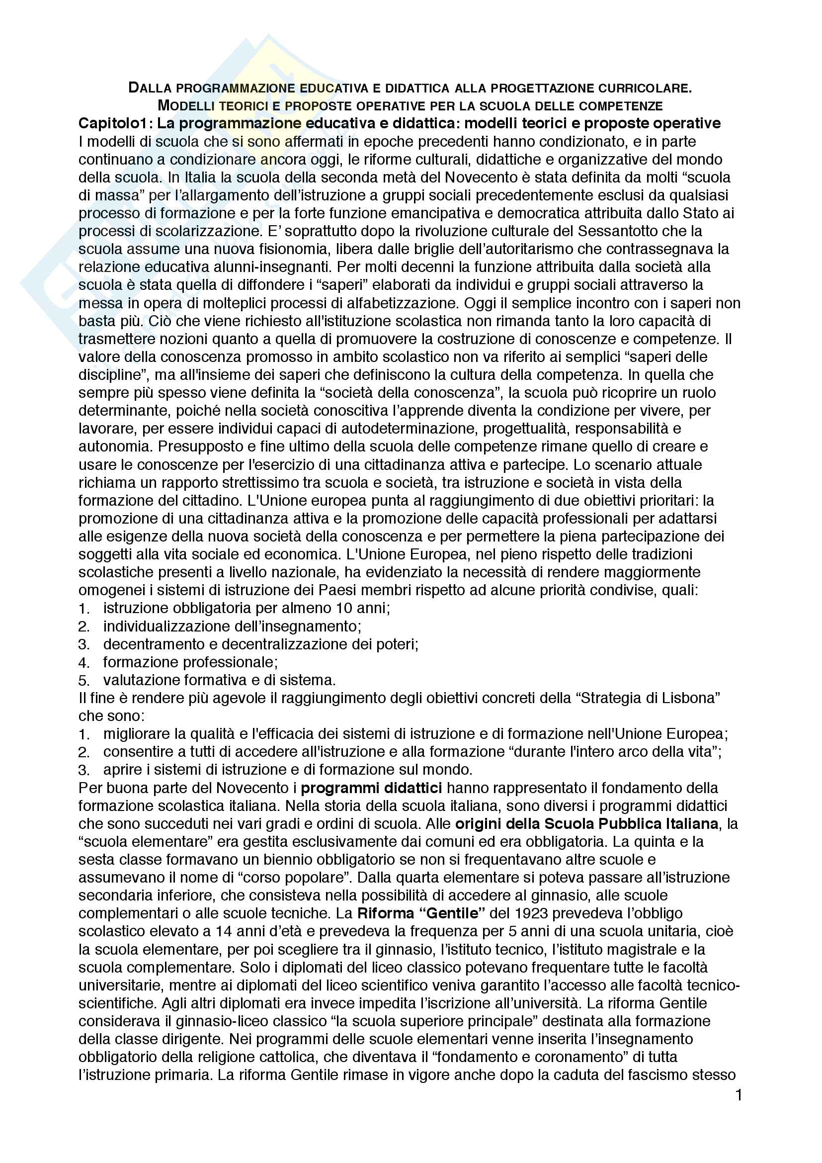 """Riassunto esame Teorie e metodi di progettazione e di valutazione scolastica, prof. Davide Capperucci, libro consigliato """"Dalla programmazione educativa e didattica alla progettazione curricolare. Modelli teorici e proposte operative per l..."""", Capperucci"""