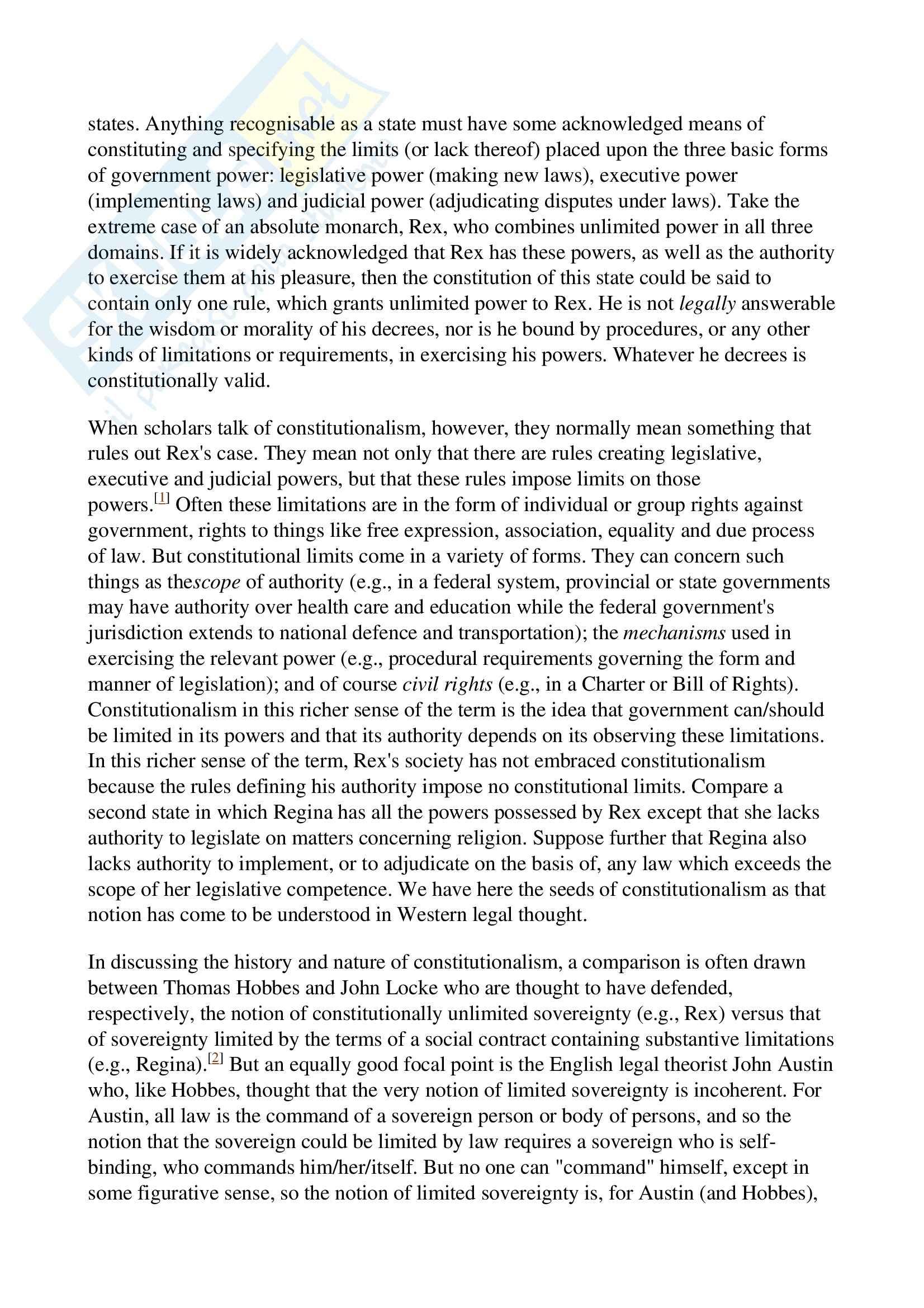Costituzionalismo - Definizione Pag. 2