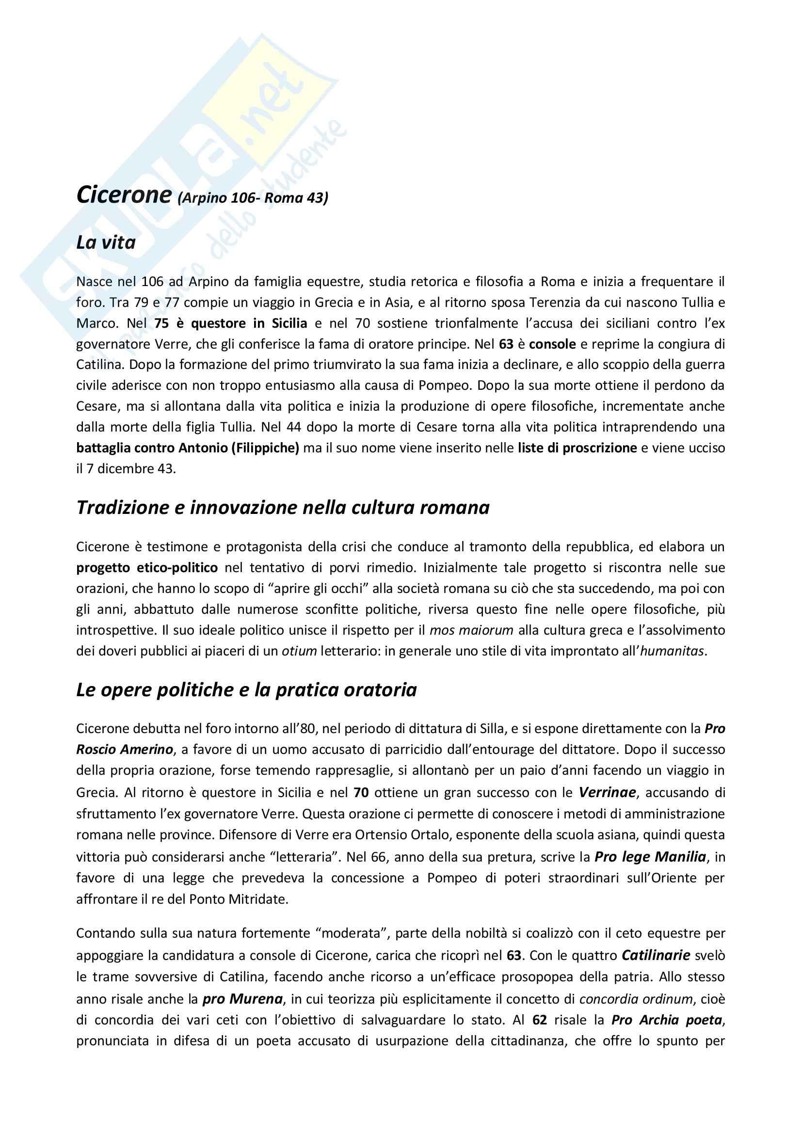 Riassunto esame Letteratura latina, prof. Delvigo, libro consigliato Letteratura latina: età di Cesare, Conte