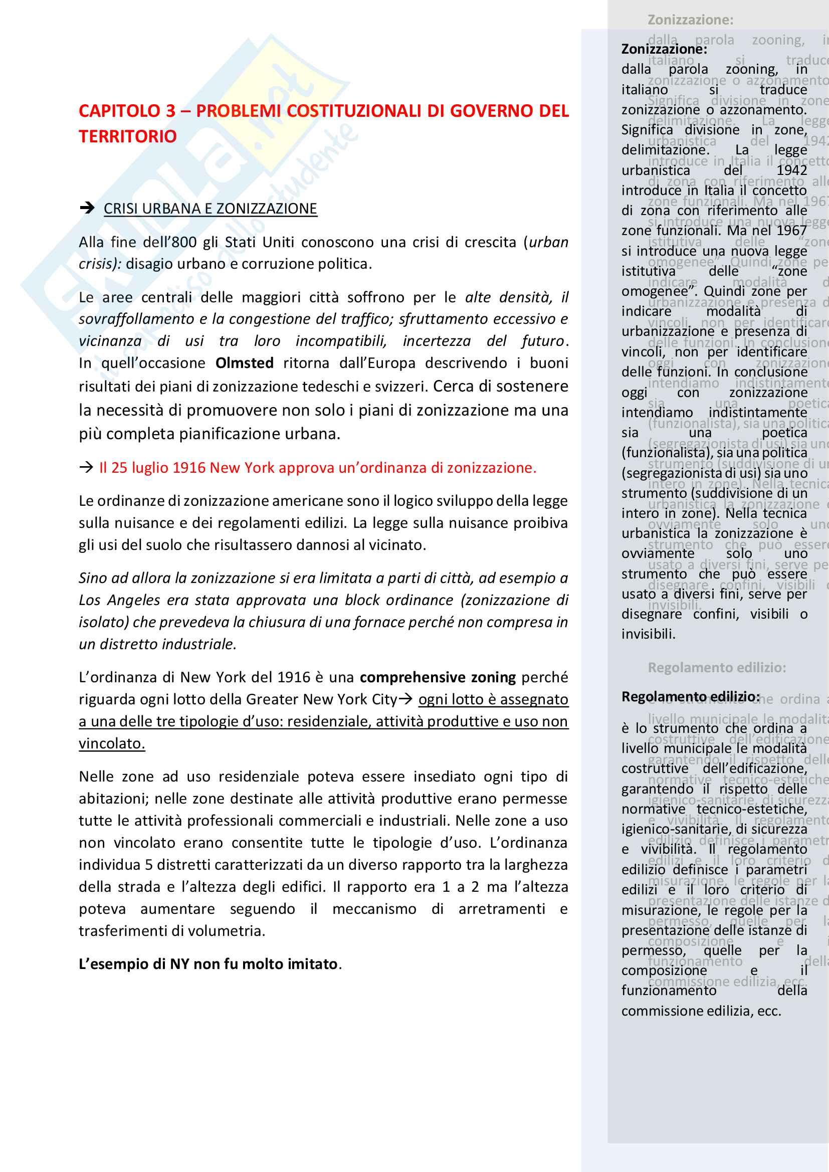 Schemi riassunto appunti Gaeta - pianificazione e governo del territorio