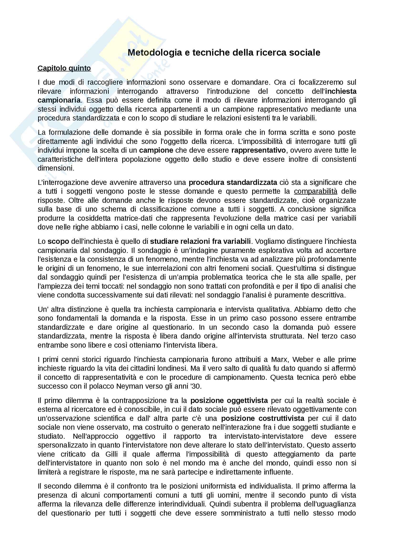 Riassunto esame Metodologia della ricerca sociale, prof. Fasanella, libro consigliato Metodologia e tecniche della ricerca sociale, Corbetta