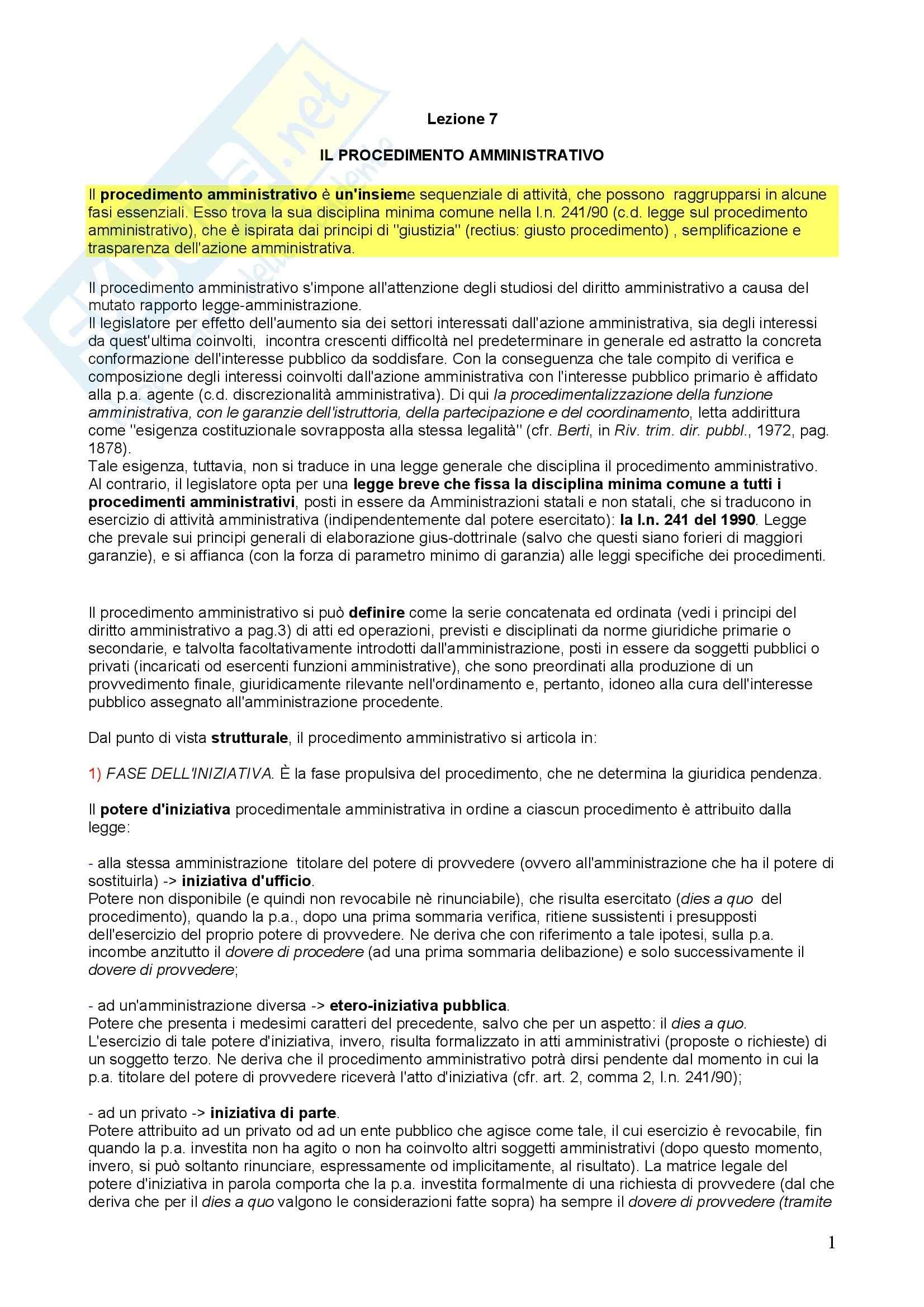 Diritto amministrativo - procedimento amministrativo