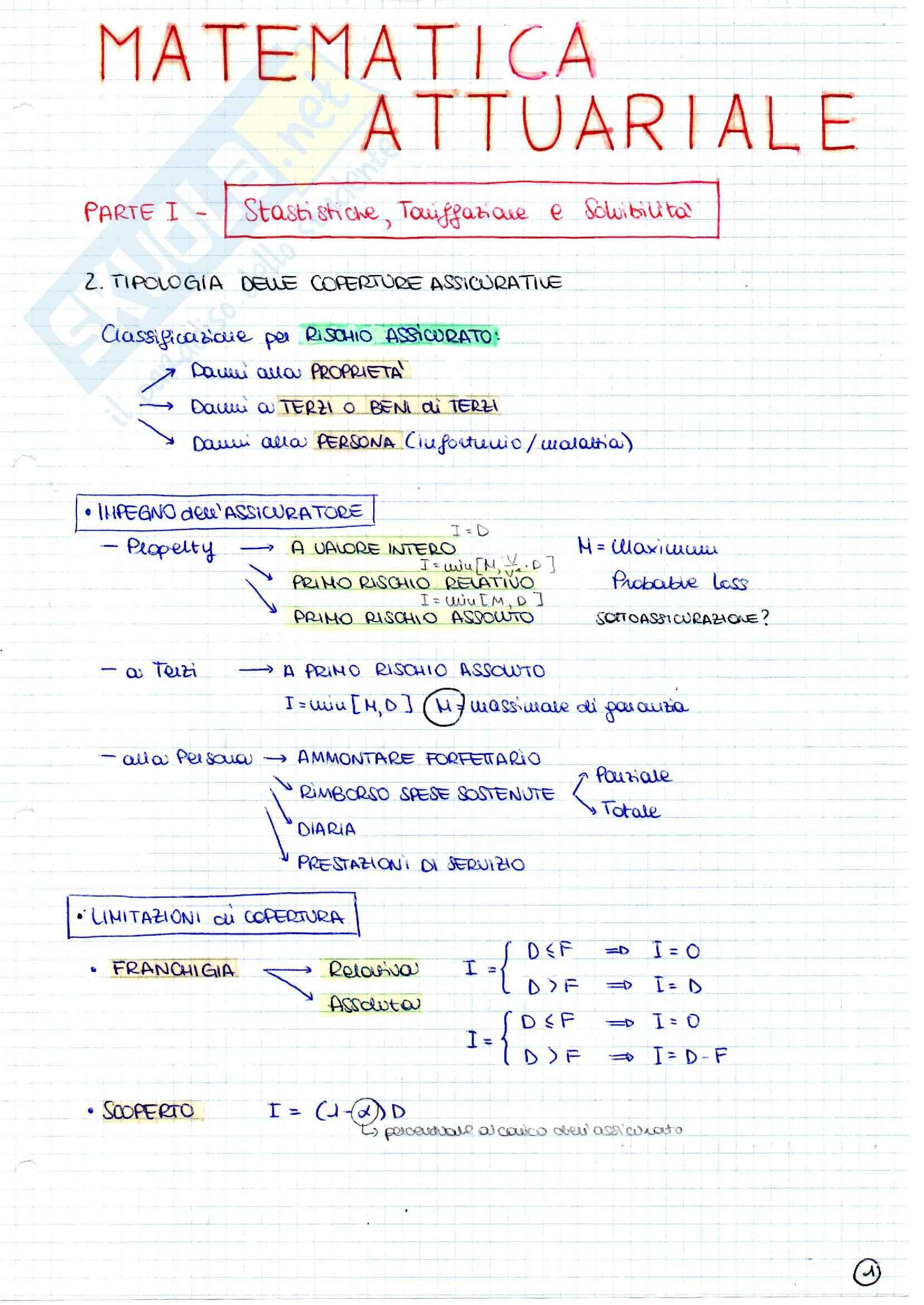 Ramo danni, Matematica attuariale