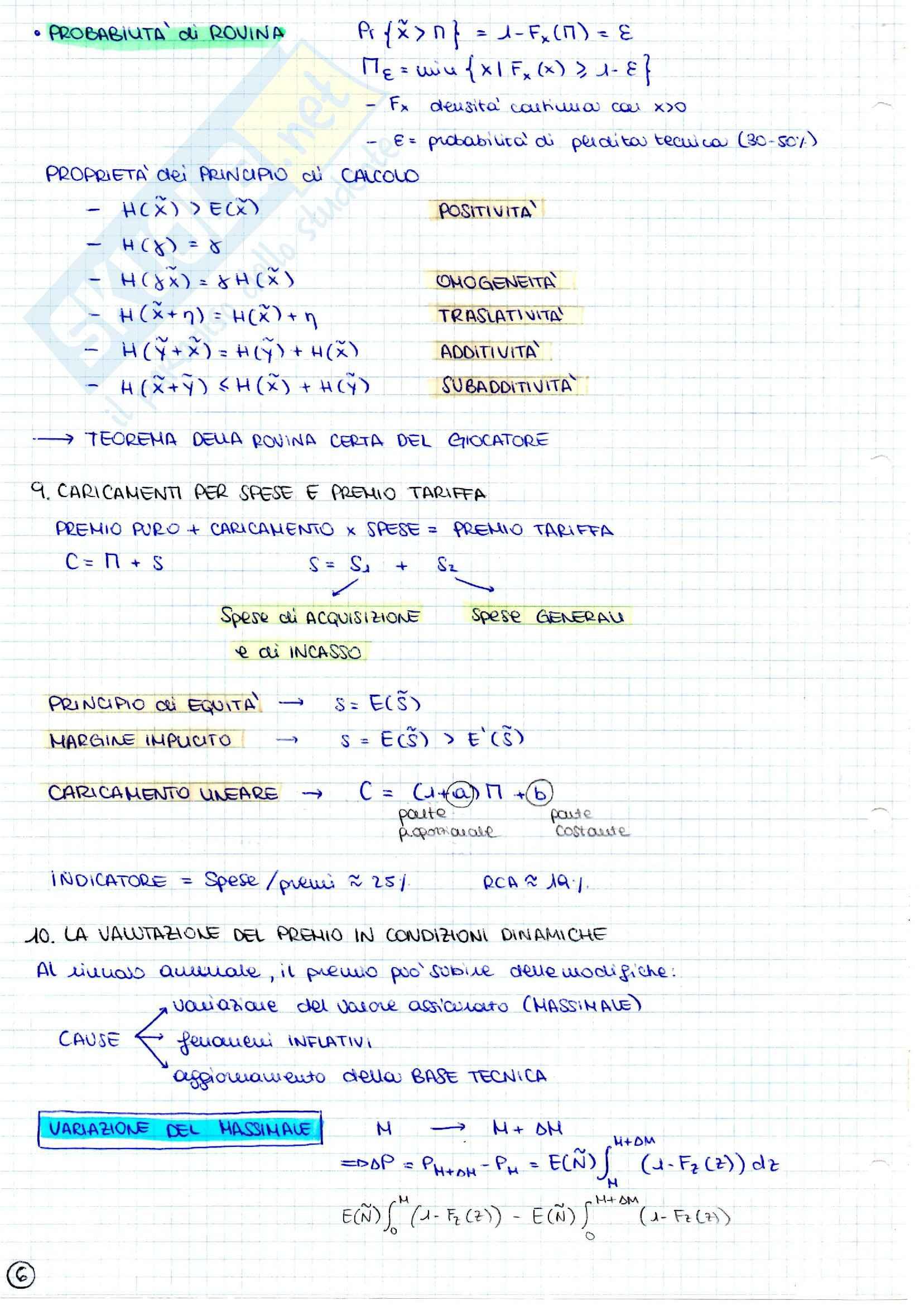 Ramo danni, Matematica attuariale Pag. 6