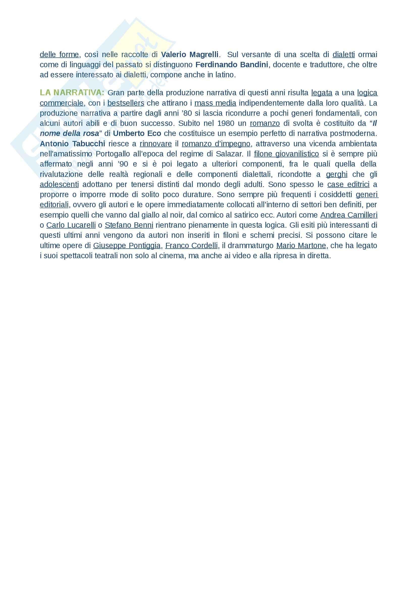 Riassunto esame Letteratura contemporanea, prof. Tomasello, libro consigliato Il Novecento, Casadei Pag. 26