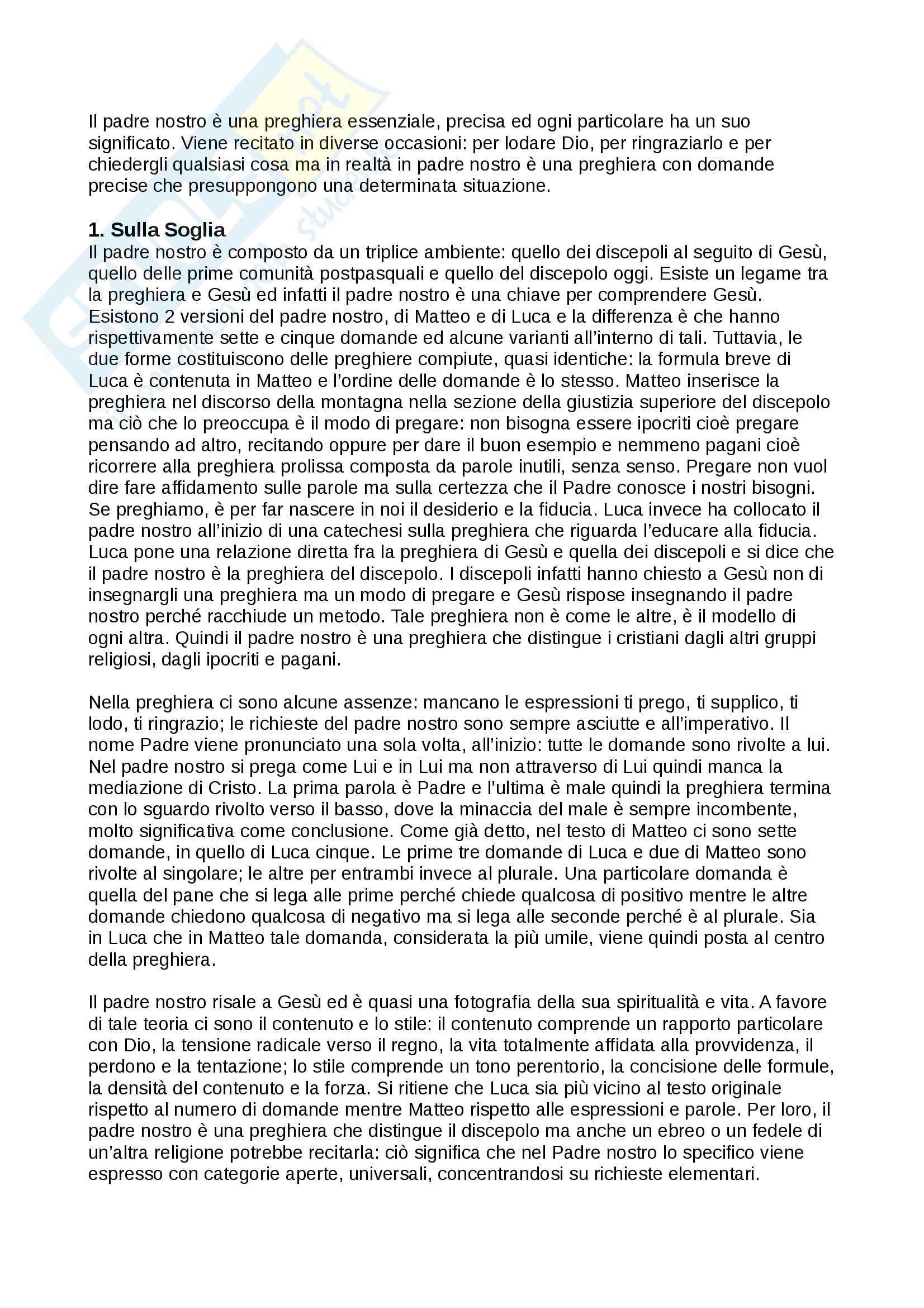 Riassunto esame Teologia II, prof. Varsalona, libro consigliato Il Padre Nostro, Maggioni