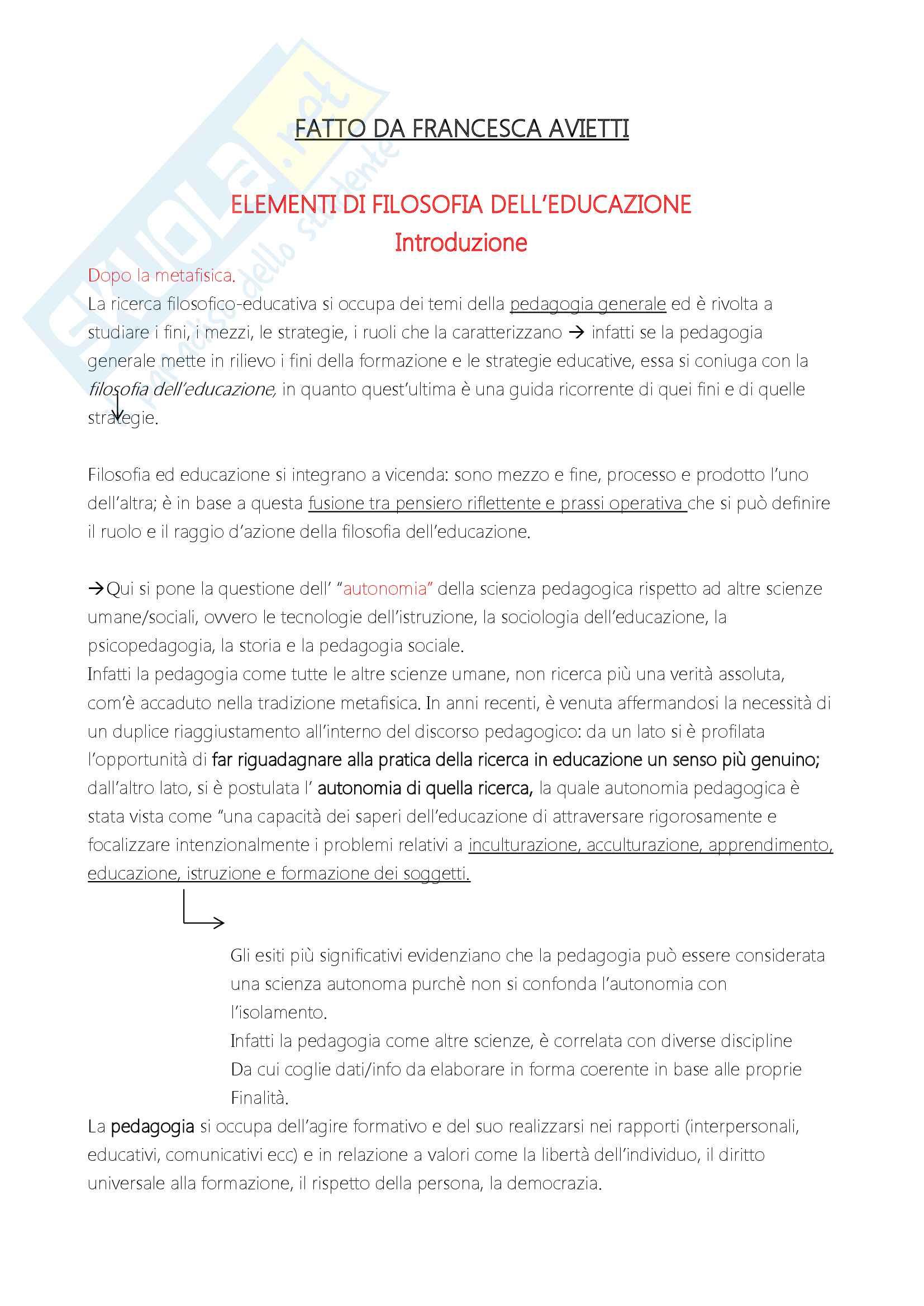 """Riassunto esame """"Filosofia dell'educazione"""", docente Alessandro Mariani, libro consigliato """"Elementi di filosofia dell'educazione"""", di Alessandro Mariani"""
