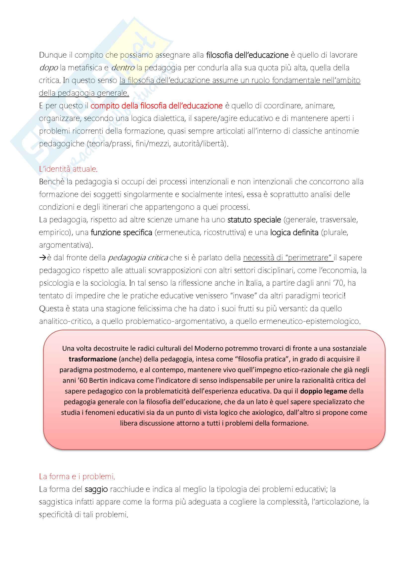 """Riassunto esame """"Filosofia dell'educazione"""", docente Alessandro Mariani, libro consigliato """"Elementi di filosofia dell'educazione"""", di Alessandro Mariani Pag. 2"""