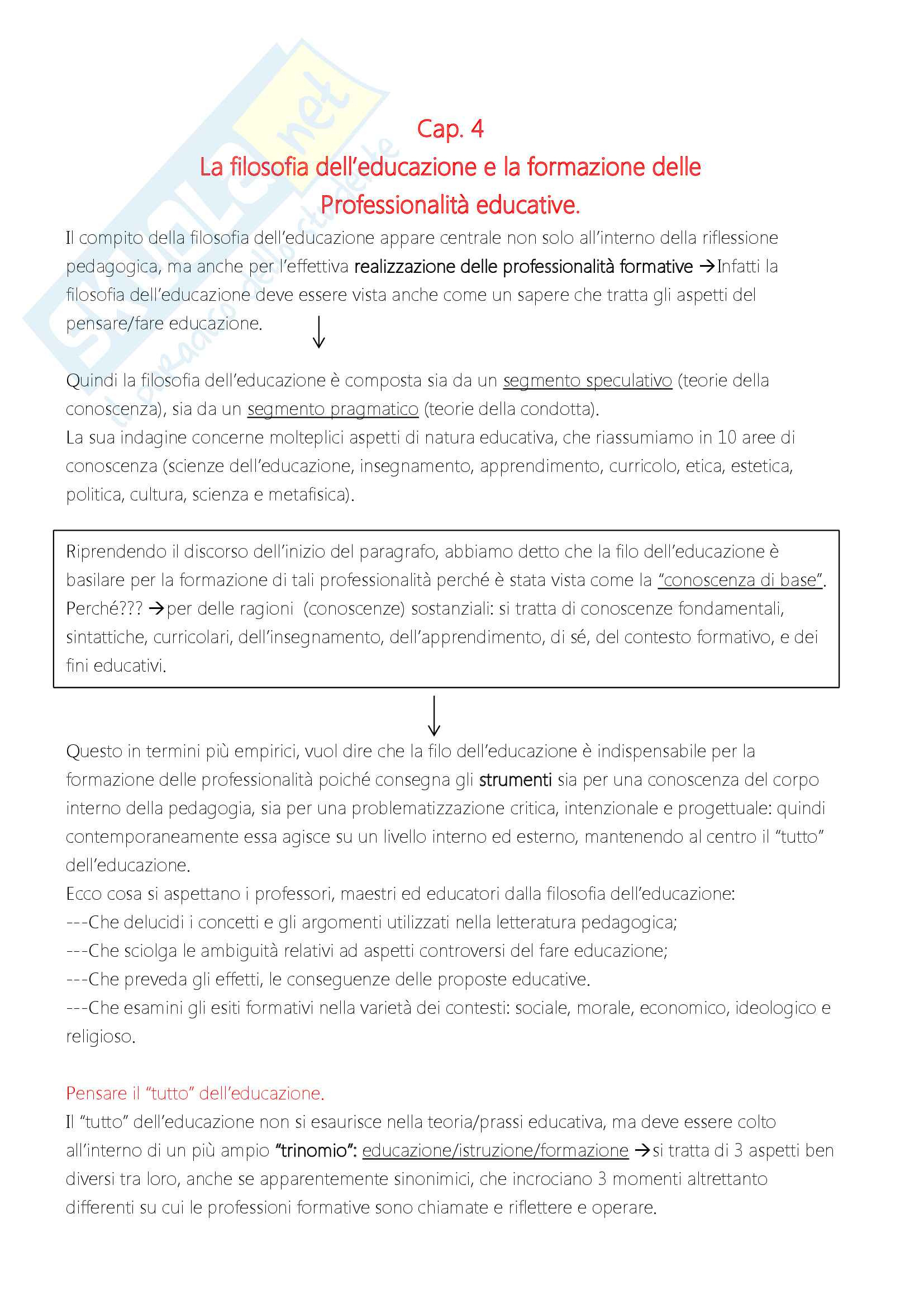 """Riassunto esame """"Filosofia dell'educazione"""", docente Alessandro Mariani, libro consigliato """"Elementi di filosofia dell'educazione"""", di Alessandro Mariani Pag. 21"""