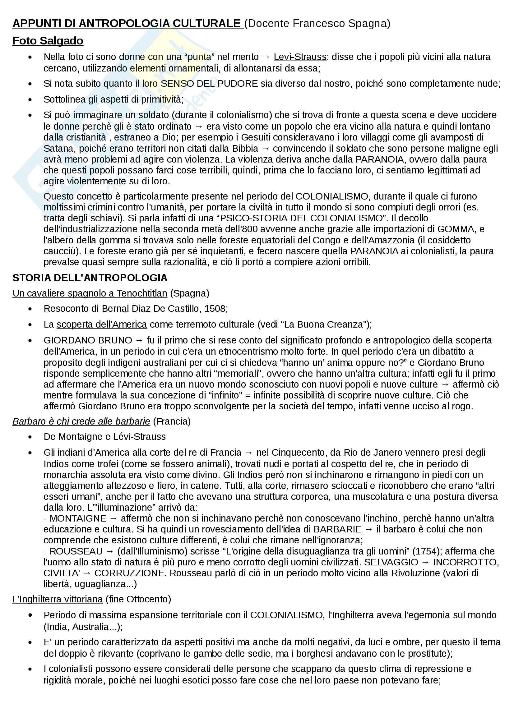 """Riassunto esame Antropologia Culturale, prof. Spagna, libro consigliato """"Lo sguardo antropologico"""", Carocci"""