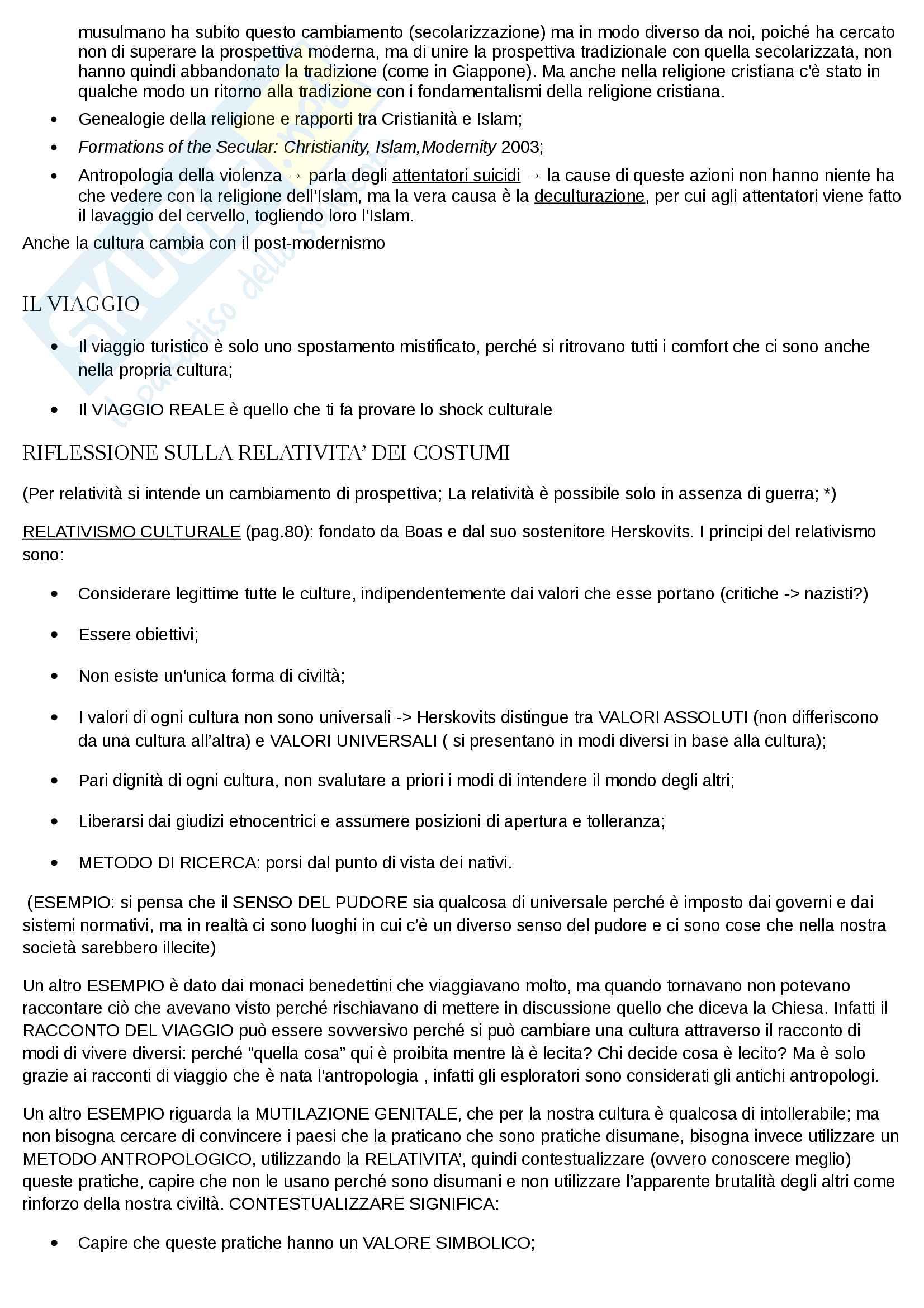 """Riassunto esame Antropologia Culturale, prof. Spagna, libro consigliato """"Lo sguardo antropologico"""", Carocci Pag. 6"""