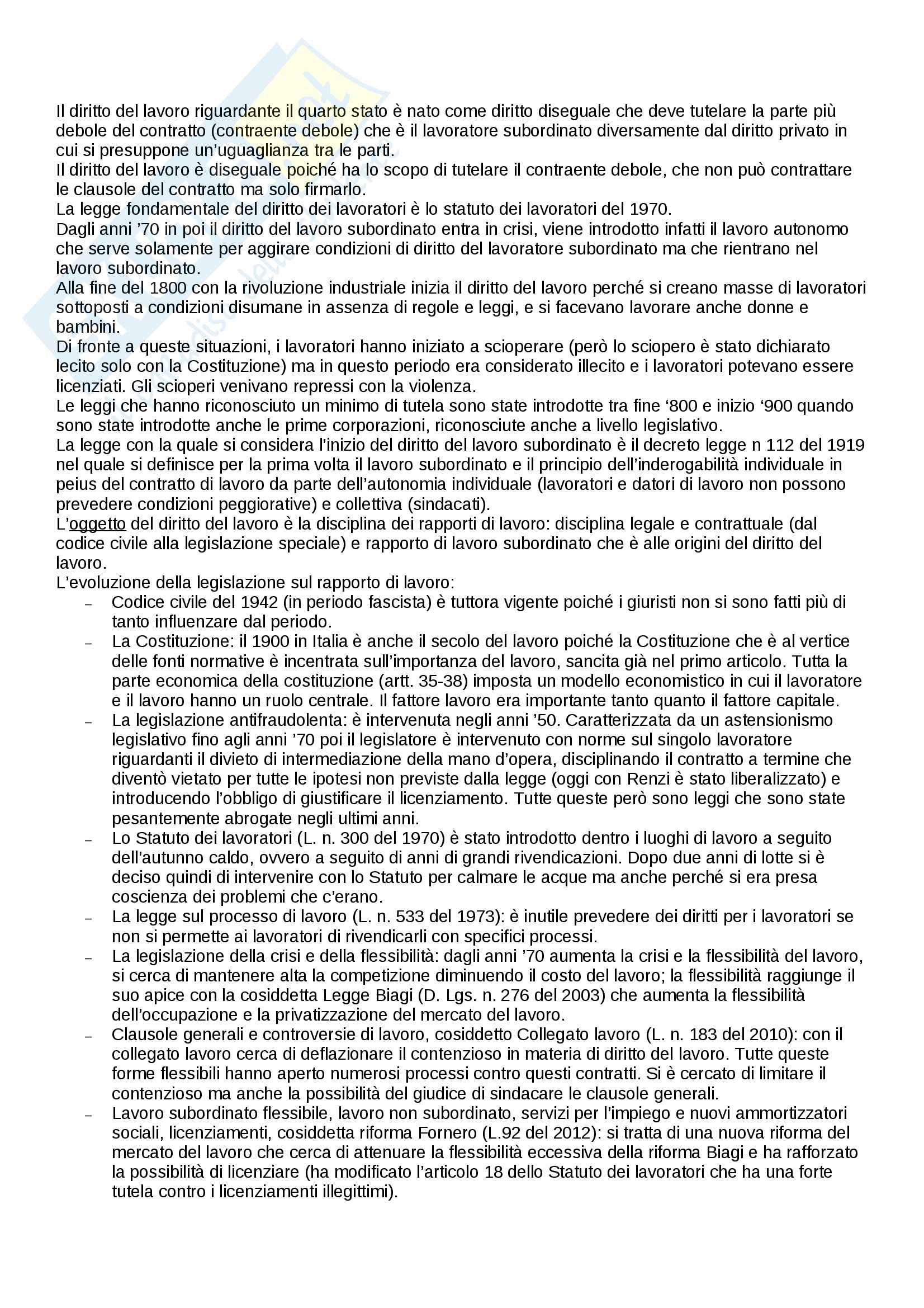 Riassunto esame Diritto del lavoro, prof. Paci, libro consigliato Il rapporto di lavoro subordinato di Carinci, De Luca Tamajo, Tosi, Treu