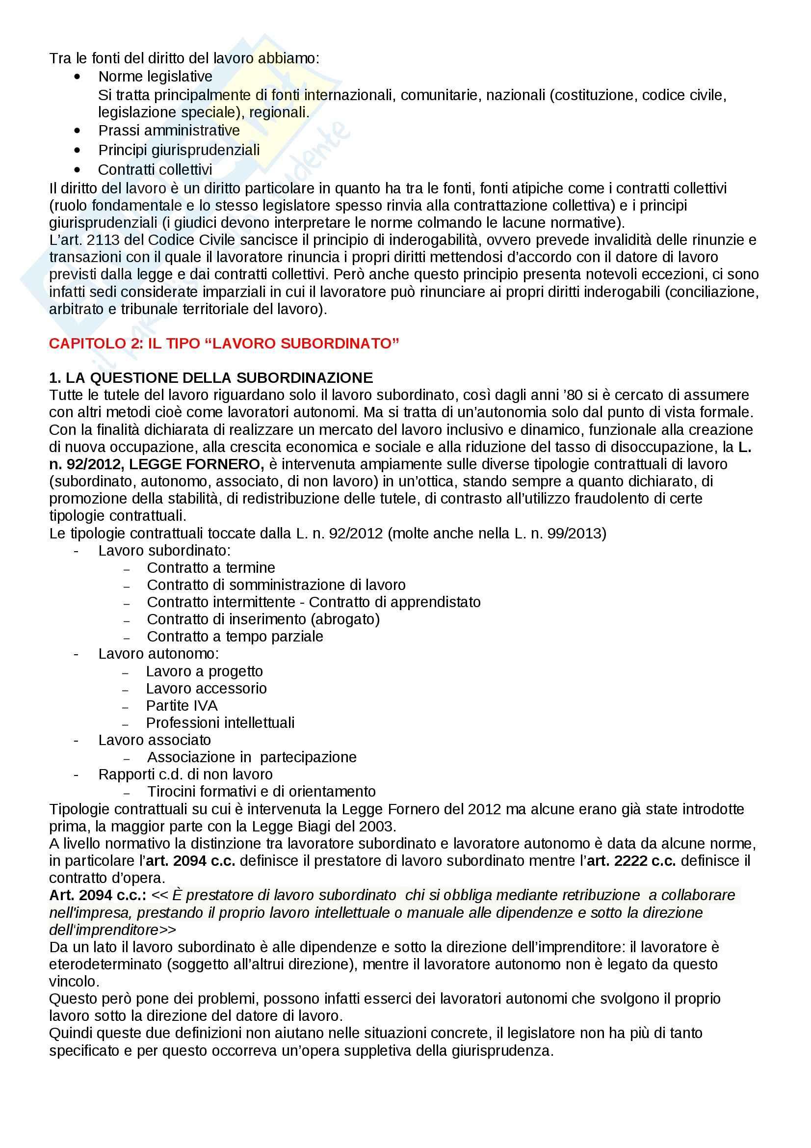 Riassunto esame Diritto del lavoro, prof. Paci, libro consigliato Il rapporto di lavoro subordinato di Carinci, De Luca Tamajo, Tosi, Treu Pag. 2