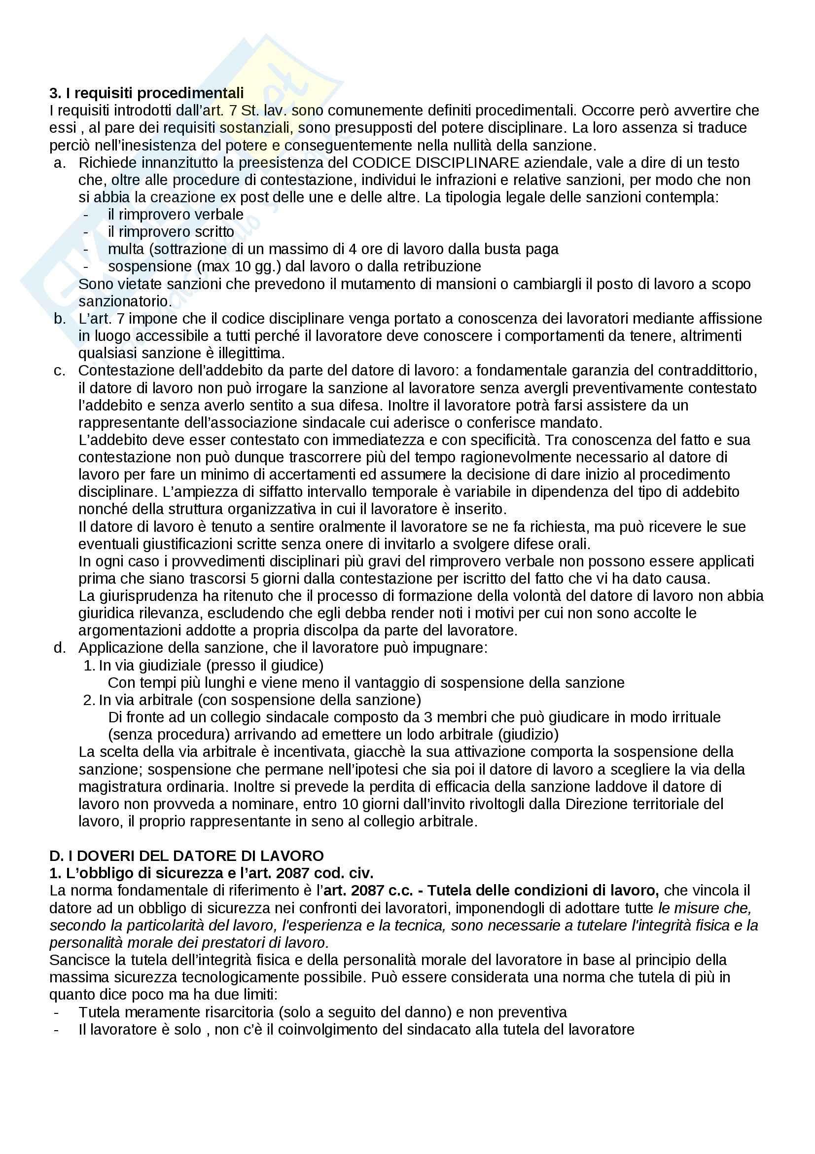 Riassunto esame Diritto del lavoro, prof. Paci, libro consigliato Il rapporto di lavoro subordinato di Carinci, De Luca Tamajo, Tosi, Treu Pag. 31