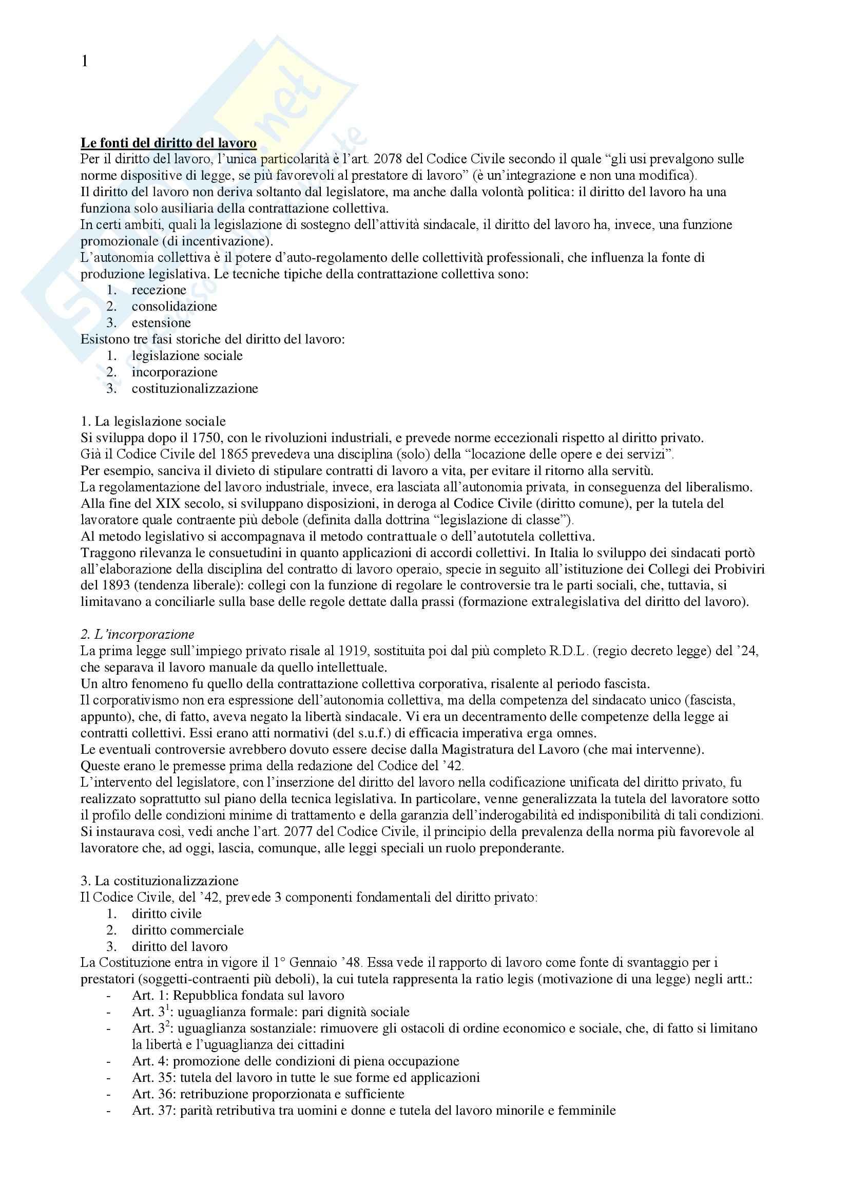 Riassunto esame Diritto del Lavoro, prof. De Simone, libro consigliato Diritto del Lavoro, Ghera