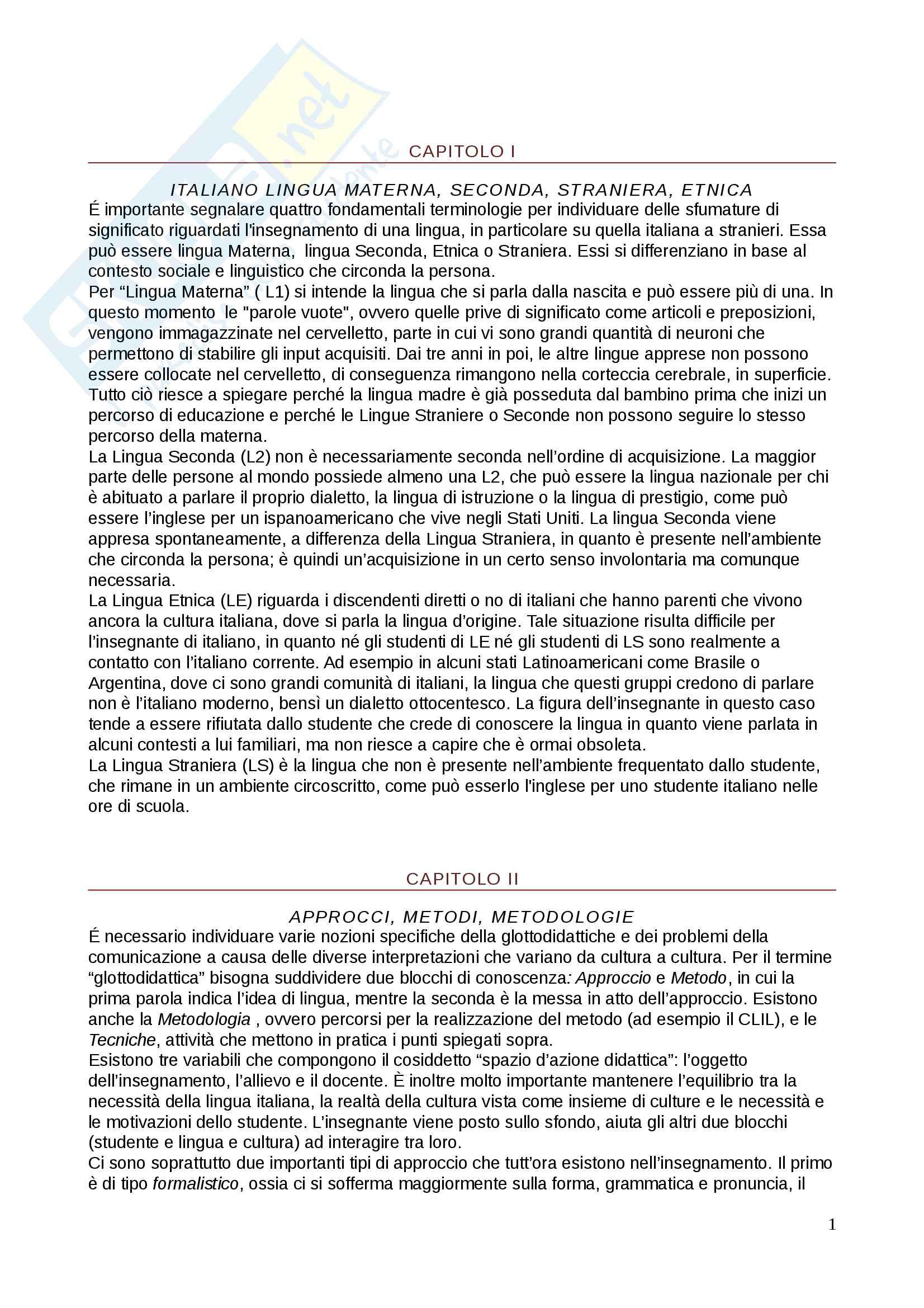Tesina Didattica dell'italiano come lingua seconda e straniera