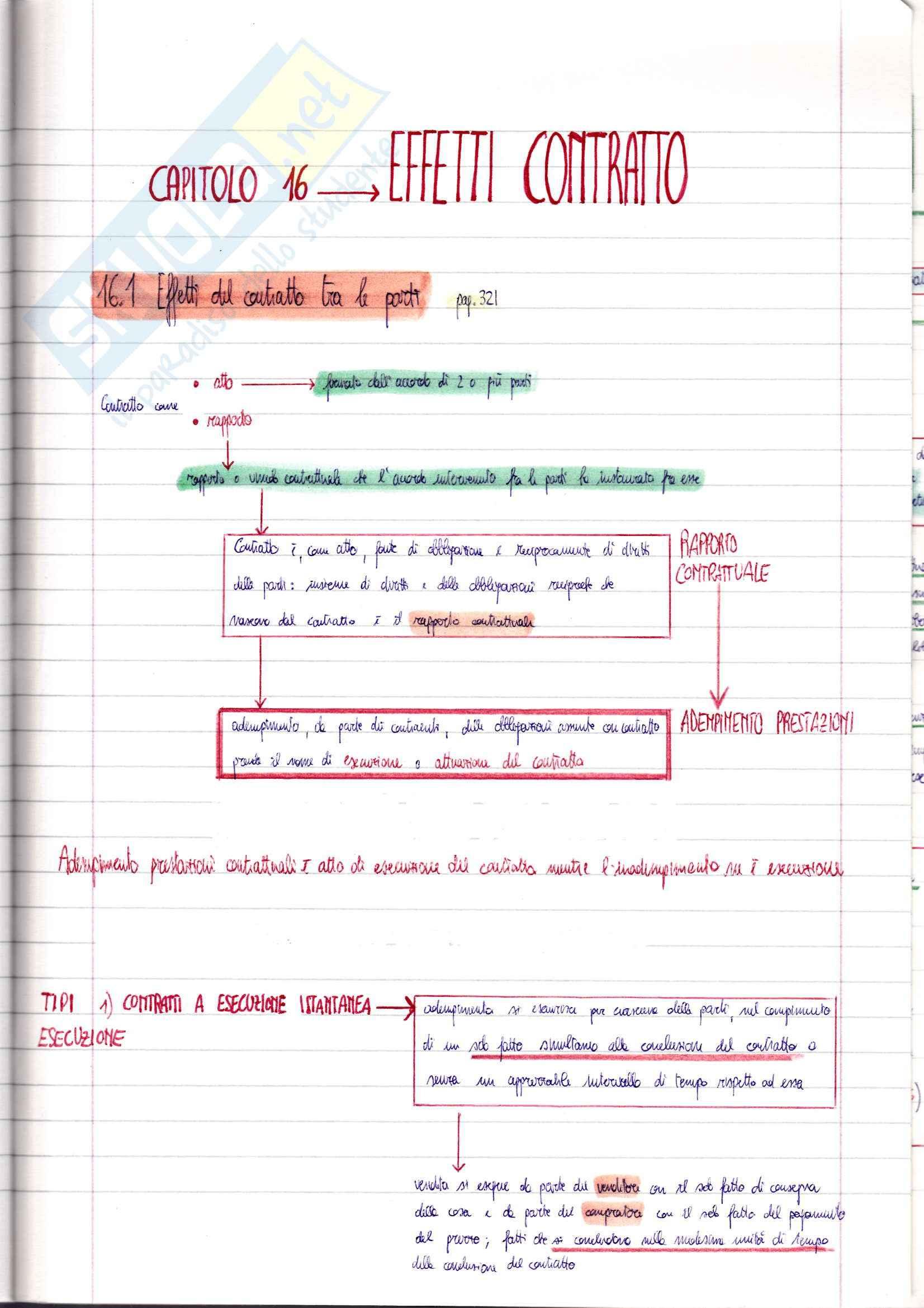 Riassunto esame Diritto Privato, prof. Ciatti, libro consigliato Diritto Privato - Effetti del contratto, Galgano