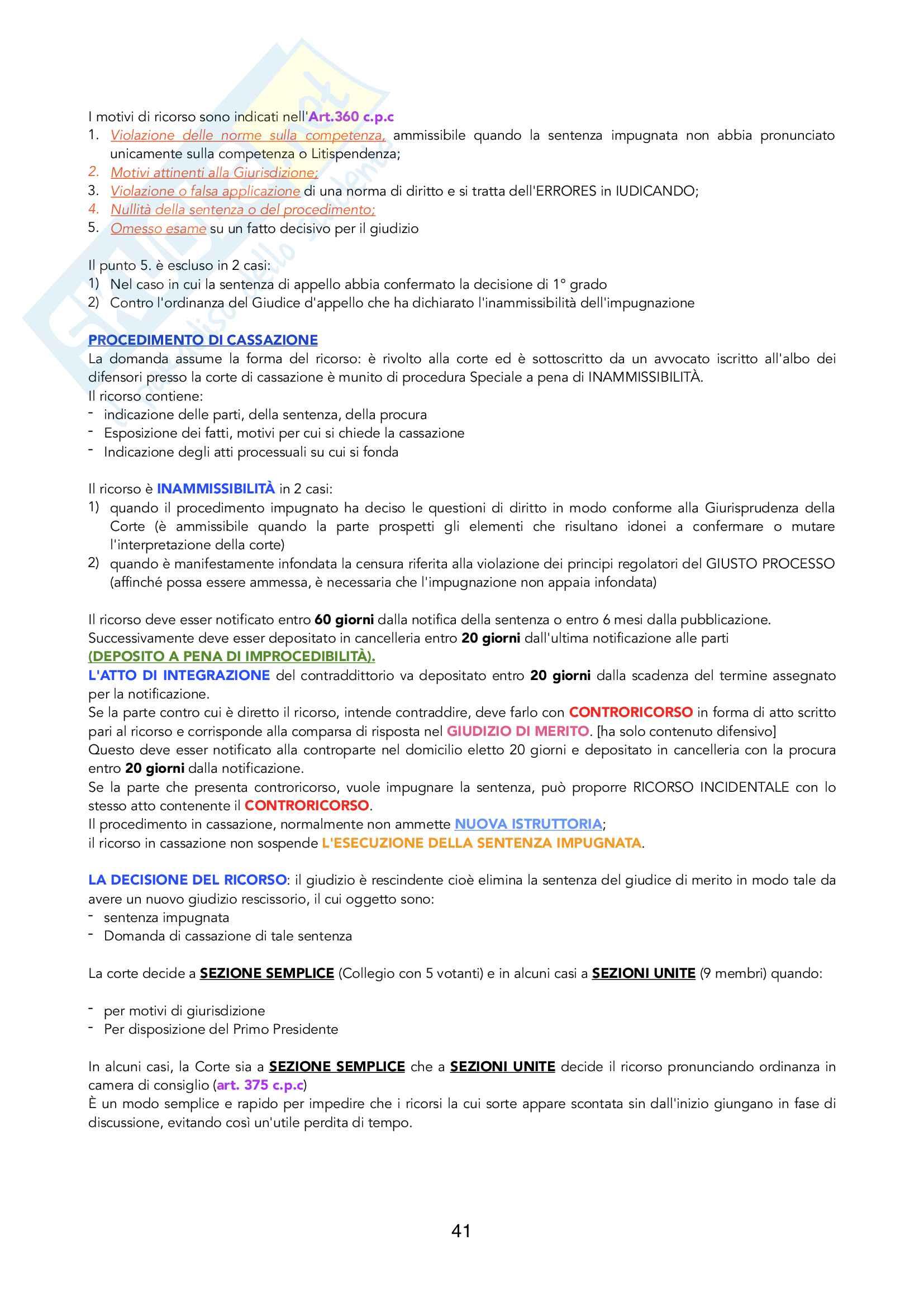 Riassunto di Processuale Civile, prof. Filippo Corsini, libri consigliati M.Bove + Compendio Simone (parte generale) e G.Verde (parte speciale) Pag. 41