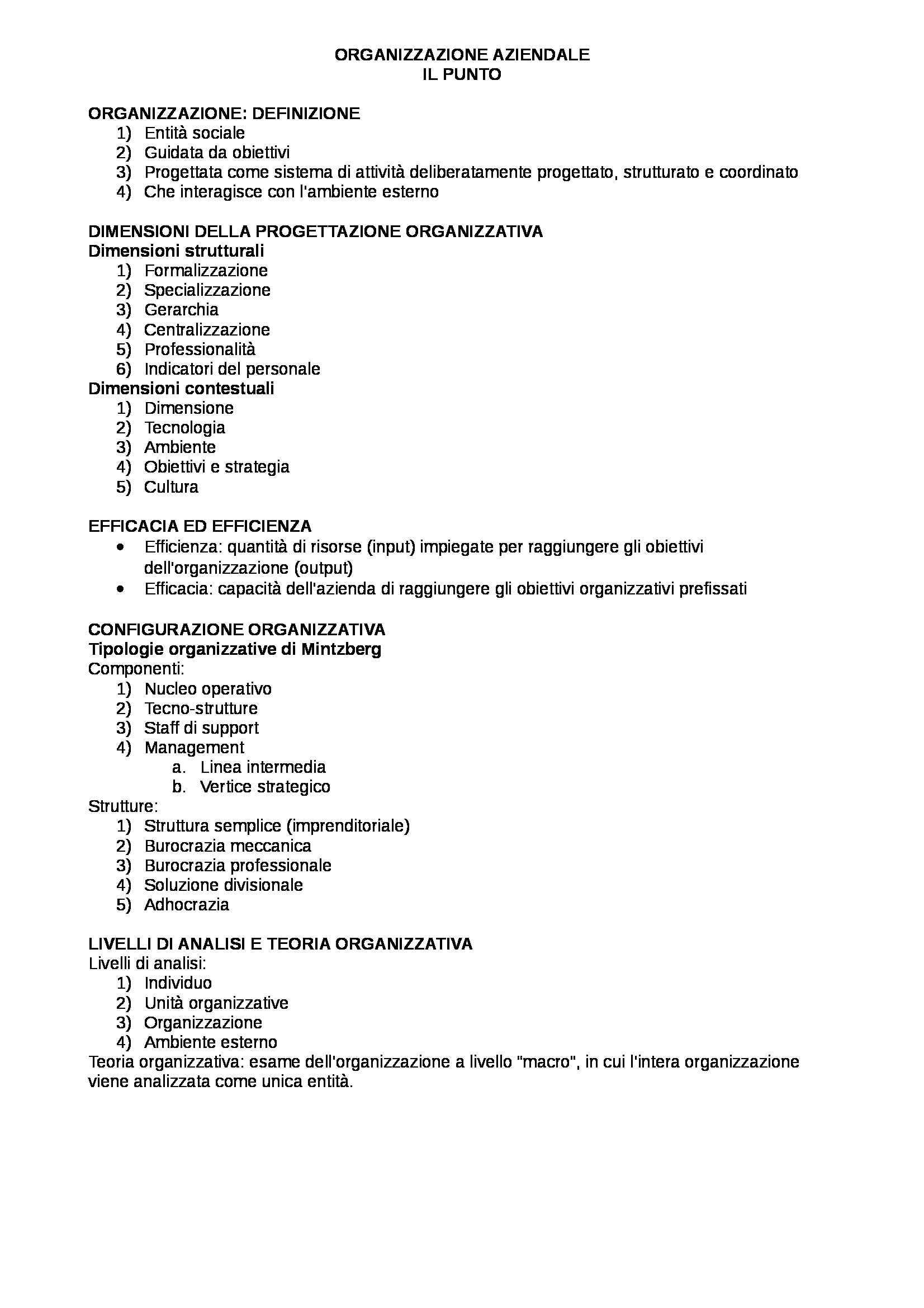 Organizzazione aziendale, Daft - schema per punti