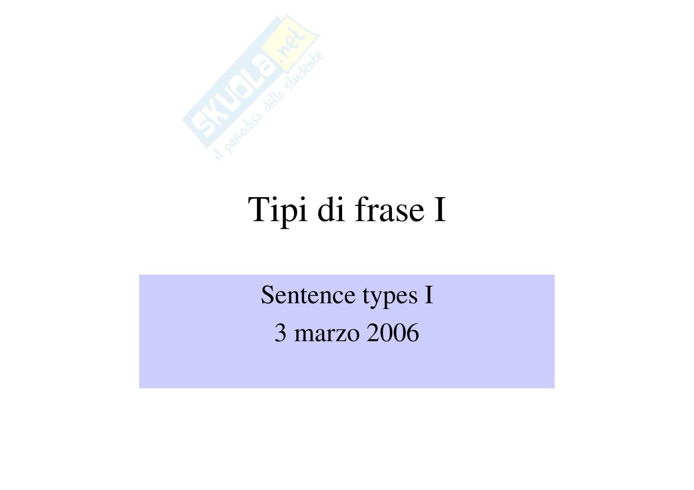 Tipi di frase I
