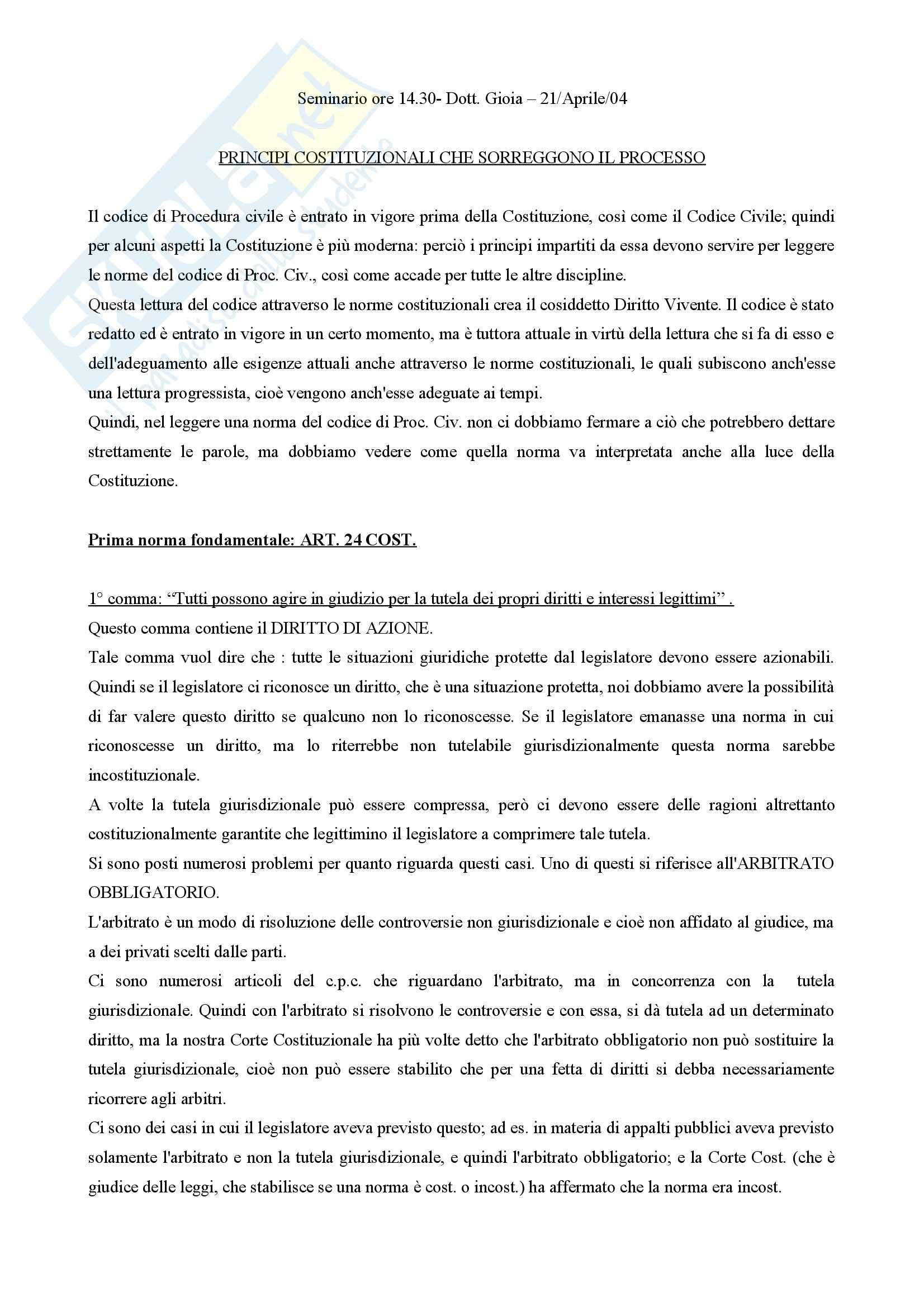 Diritto processuale civile - principi costituzionali nel processo civile