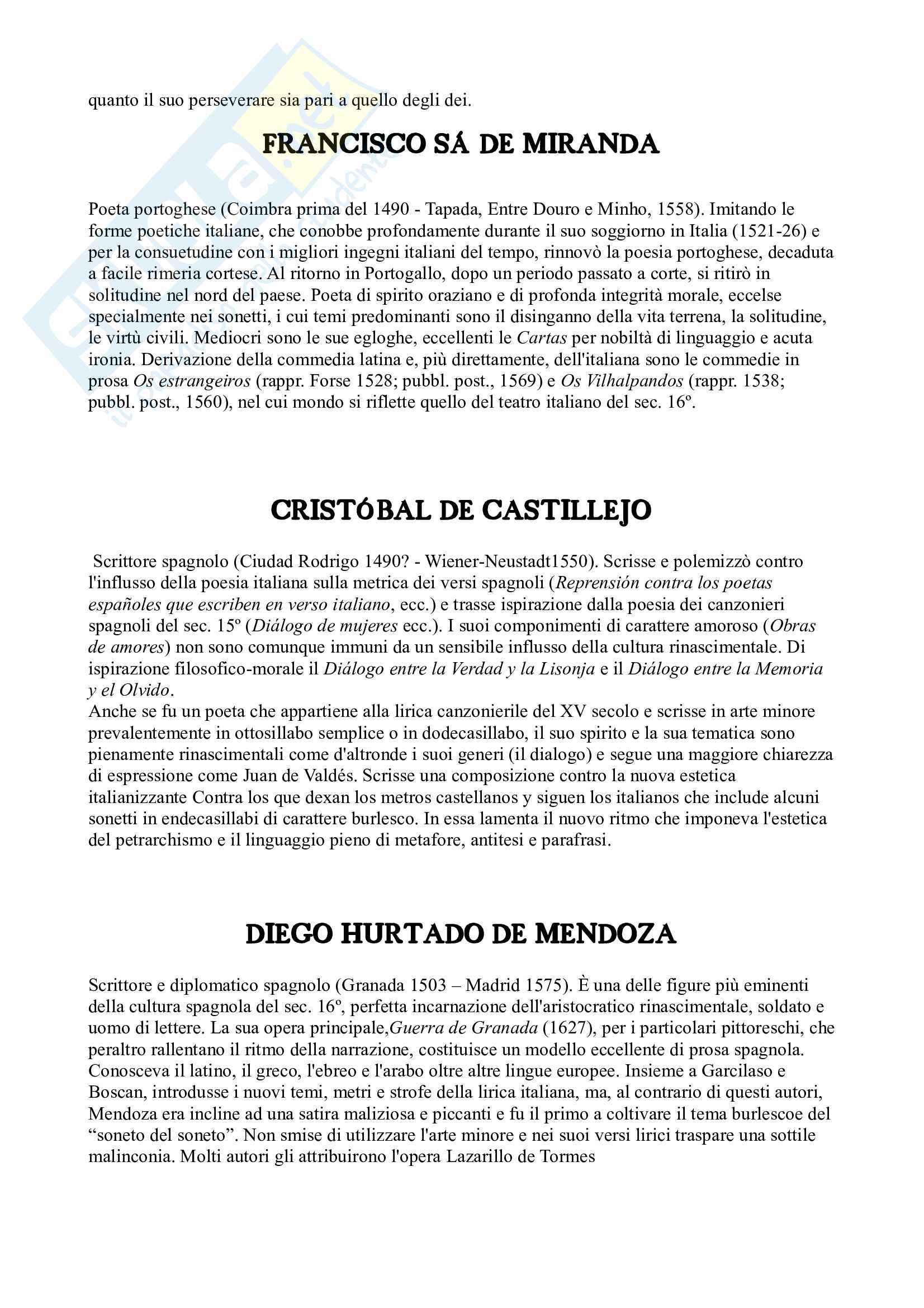 Riassunto esame Letteratura spagnola, prof. Arquez, libro consigliato L'età d'oro della letteratura spagnola 500 e 600 di Profeti Pag. 31