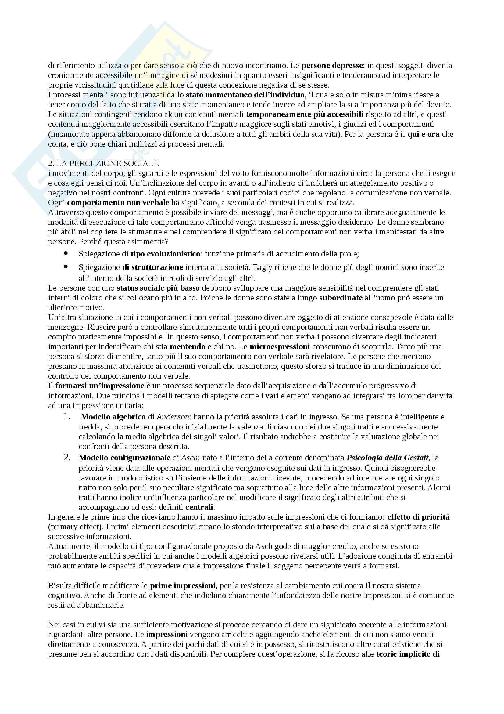 Riassunto esame Psicologia Sociale, docente Castelli, libro consigliato Psicologia sociale cognitiva, Castelli Pag. 2