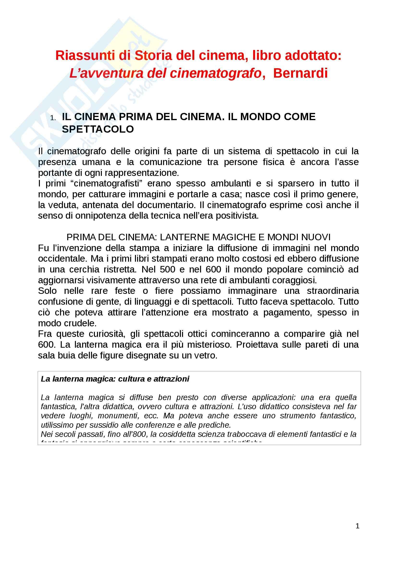 Riassunto esame Storia cinema, prof. Canova, libro consigliato L'avventura del cinematografo, Bernardi