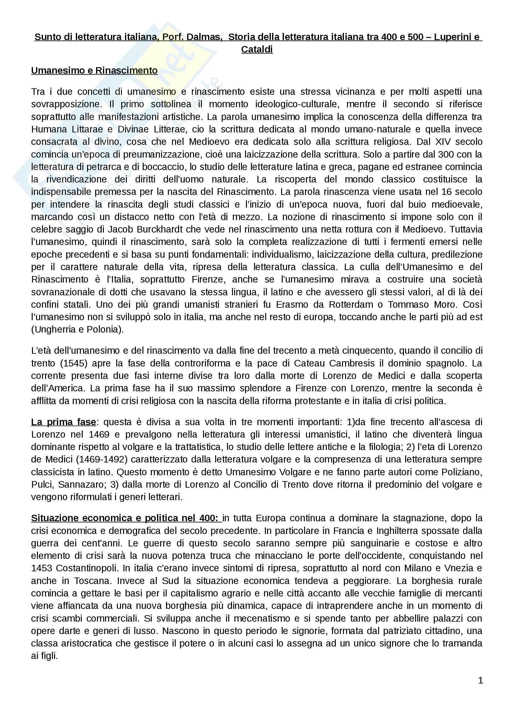 Riassunto esame letteratura italiana, Prof. Dalmas, libro consigliato Storia della letteratura italiana tra 400 e 500 di Luperini e Cataldi