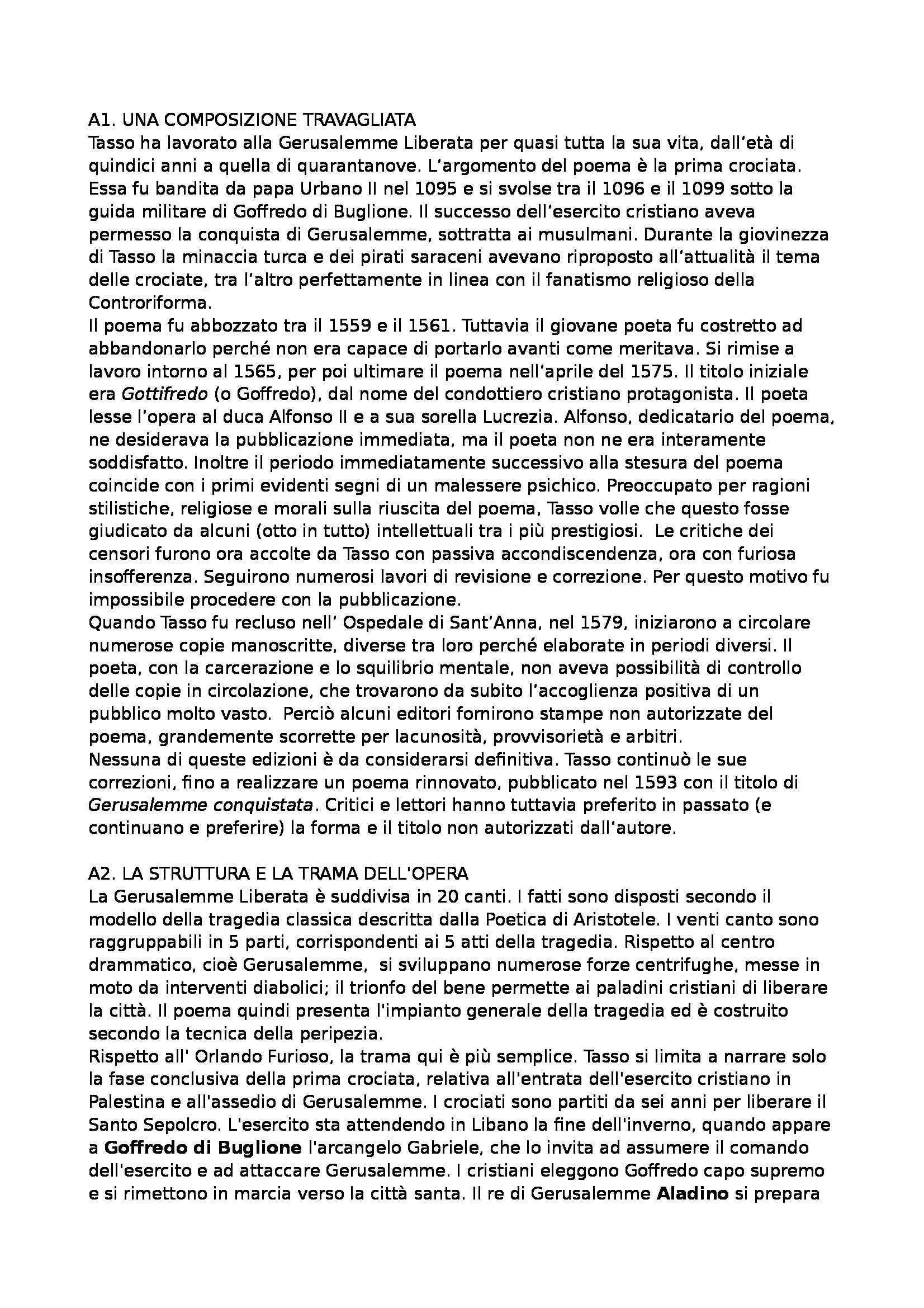 Letteratura italiana 1 - Gerusalemme Liberata, Tasso