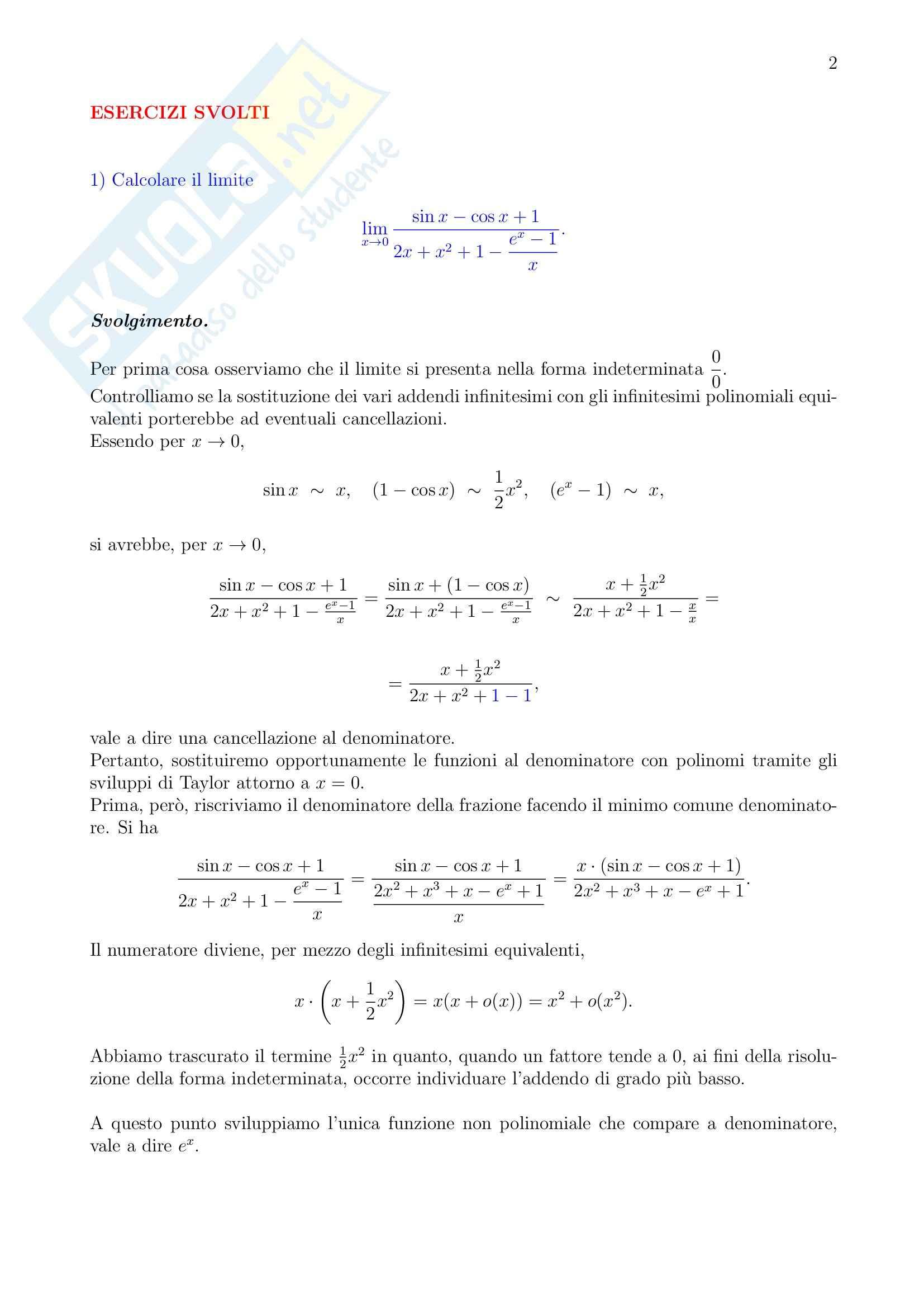 Analisi matematica - Esercizi svolti Pag. 2