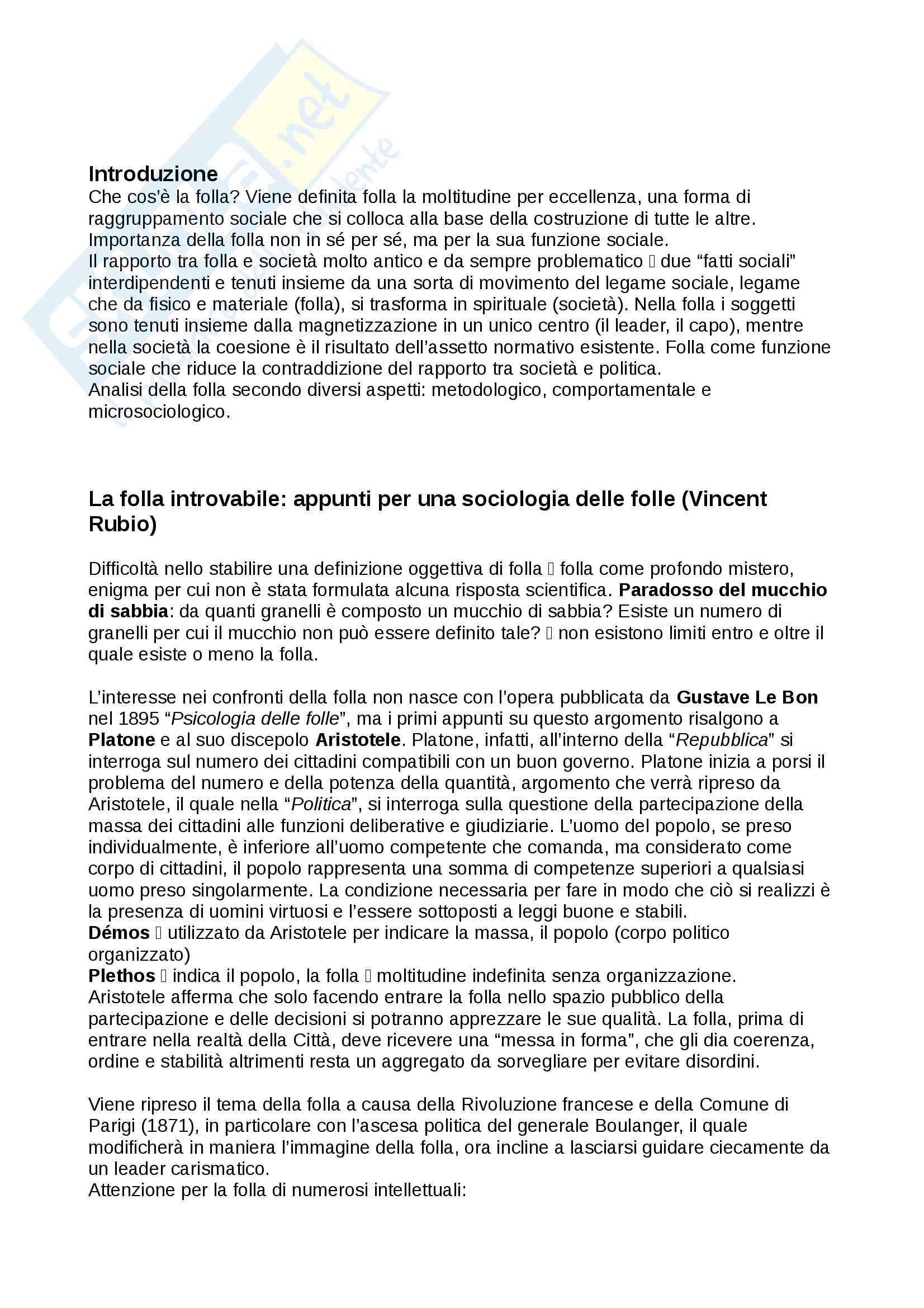 Riassunto esame Sociologia, prof. Federici, libro consigliato La folla, Curti, Moroni