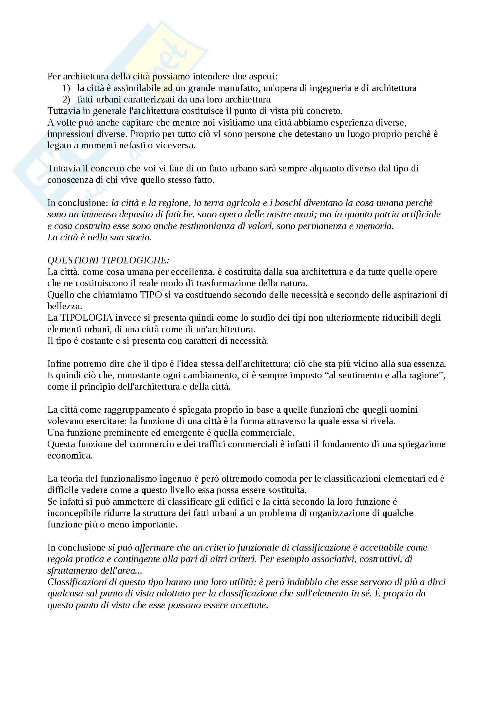 Riassunto esame Elementi di Architettura, prof. Spagnolo, libro consigliato L'Architettura della Città, Rossi