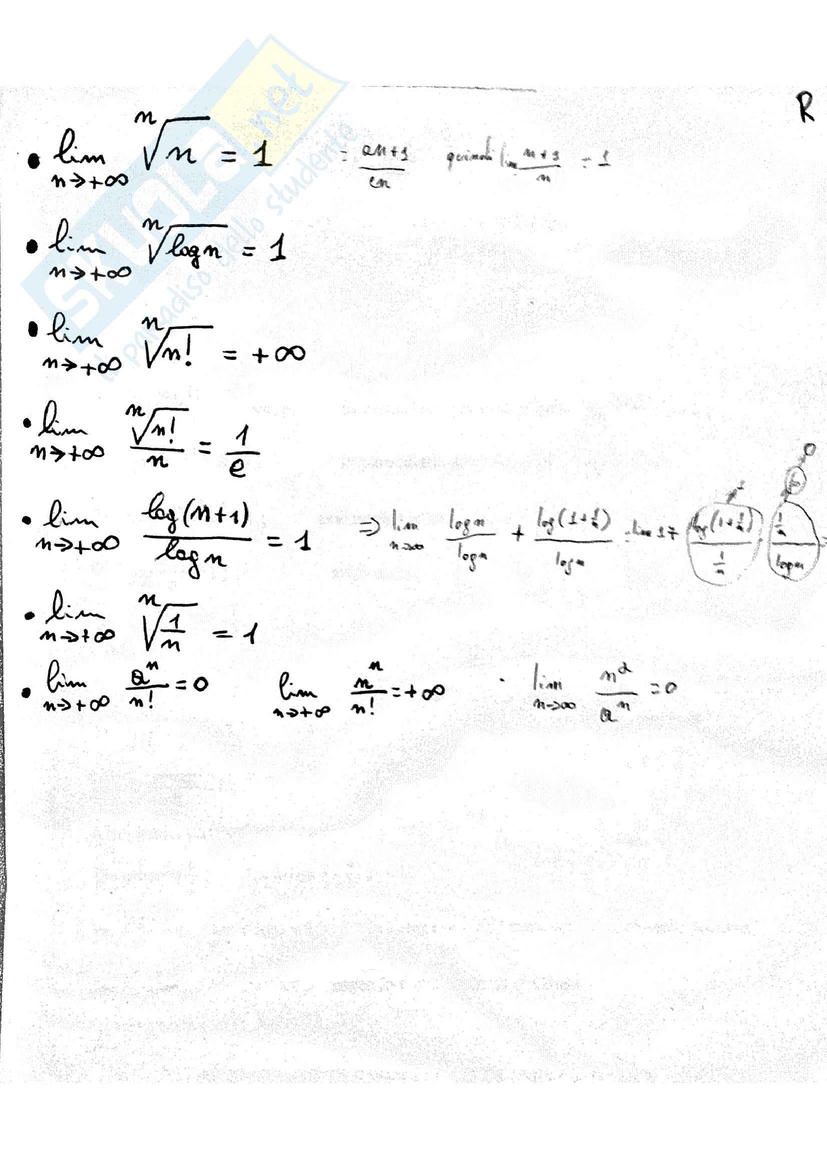 Analisi Matematica - formulario e appunti