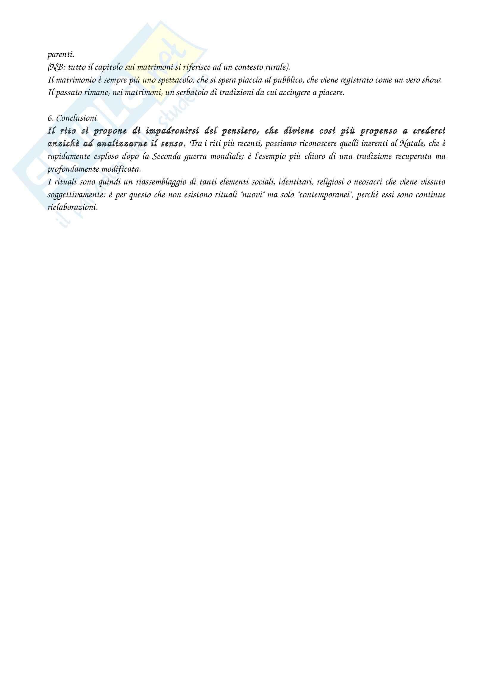 Riassunto esame Sociologia, prof. De Biasi, libro consigliato Riti e rituali contemporanei, Segalen Pag. 6