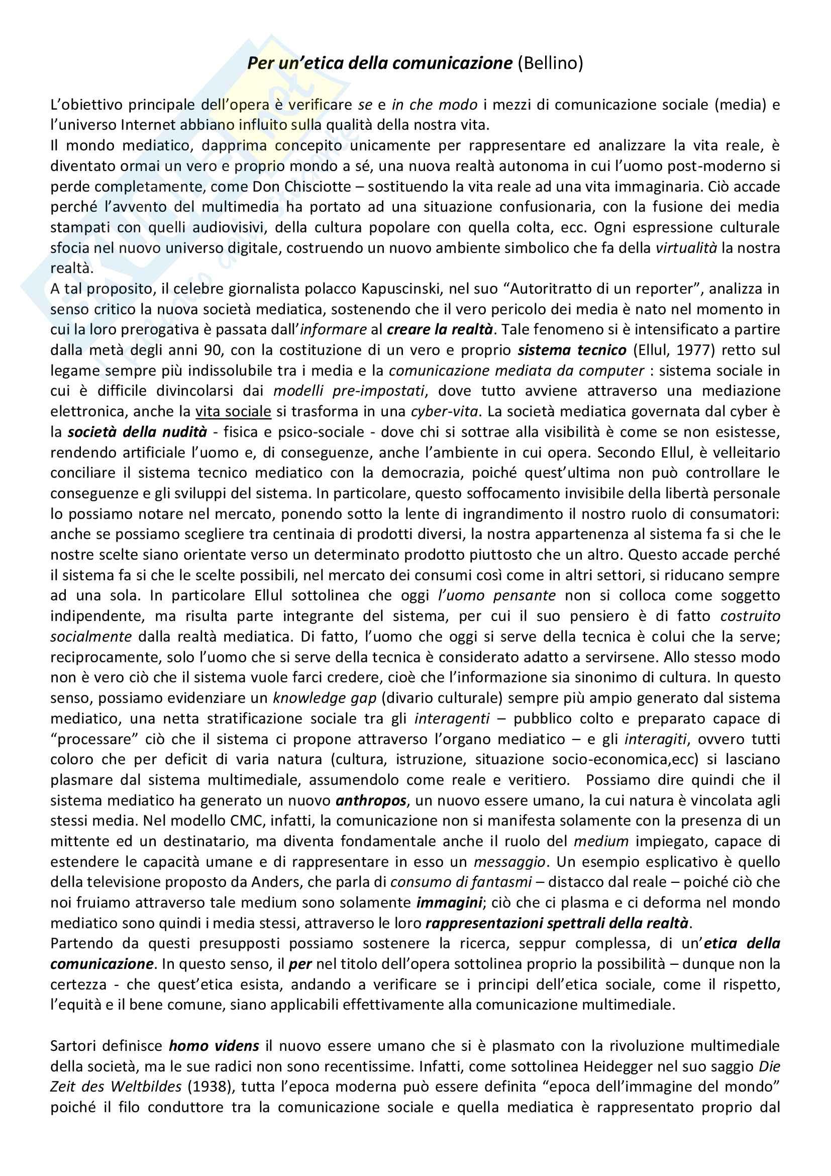 """Riassunti esame etica della comunicazione, prof. Bellino, libro consigliato """"Per un'etica della comunicazione"""", F. Bellino"""