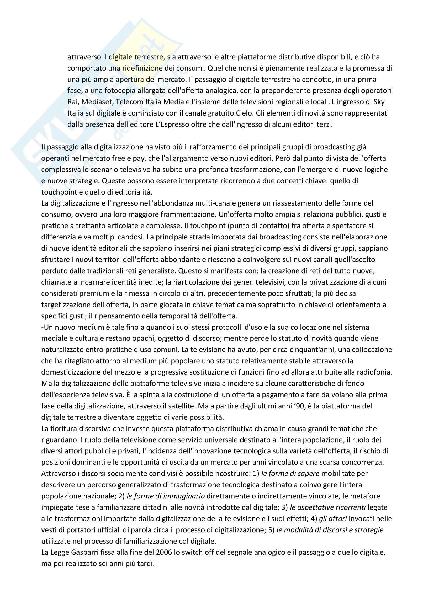 Riassunto esame Format e Prodotti Televisivi, prof. Cardini, libro consigliato La Tv Dopo la Tv, Scaglioni Pag. 6