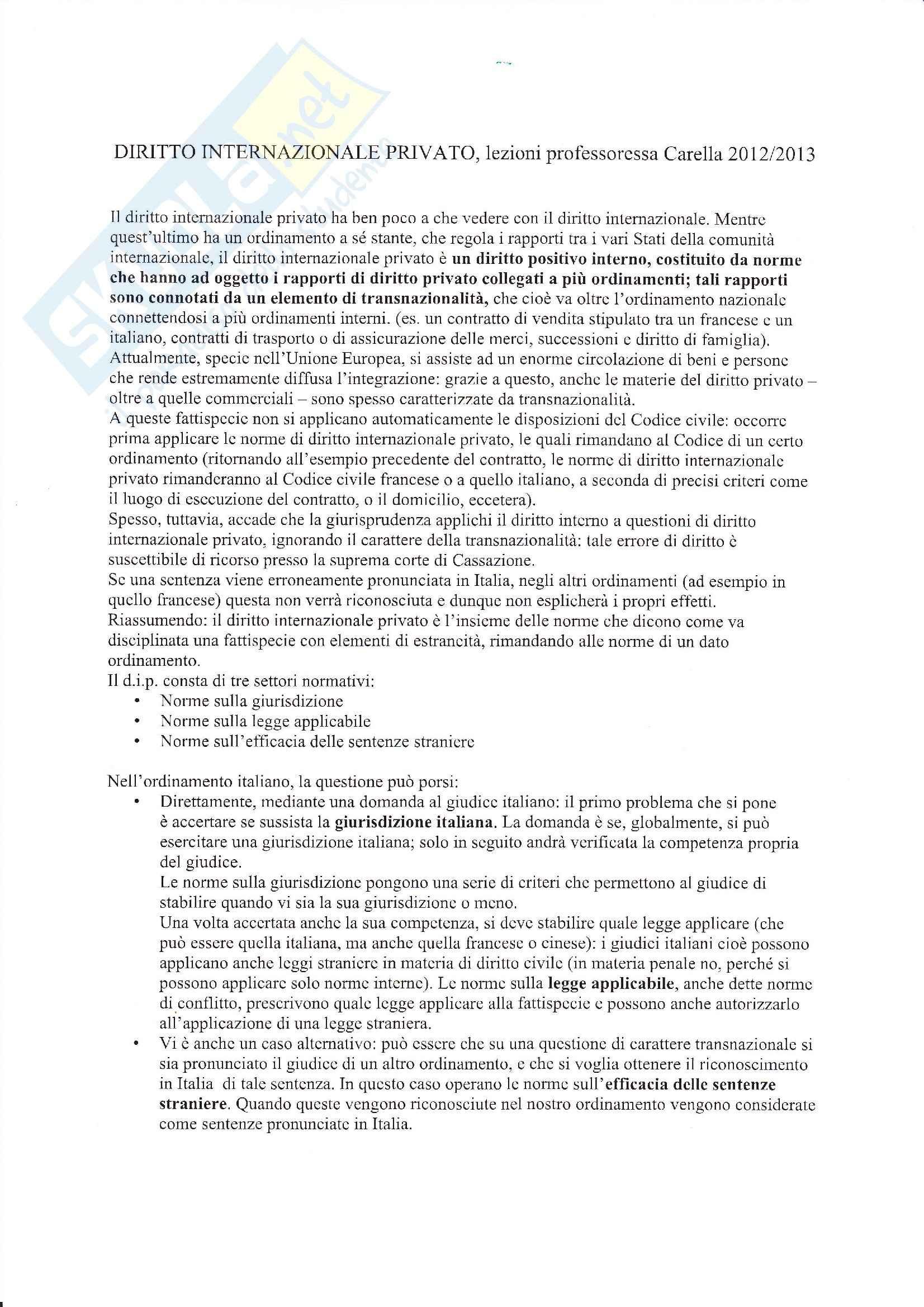 Diritto internazionale privato - Appunti