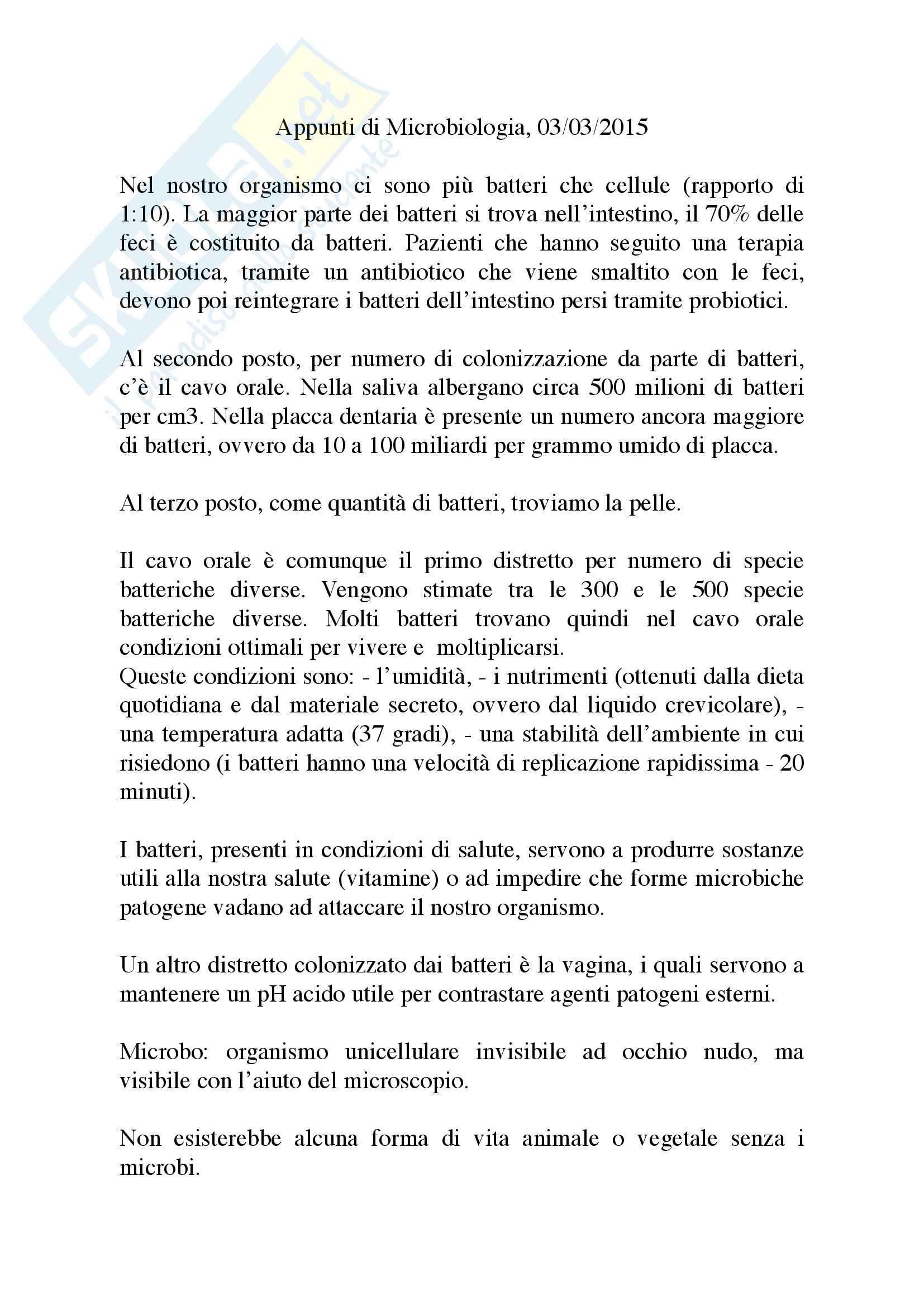 Appunti Microbiologia Prof Mattina