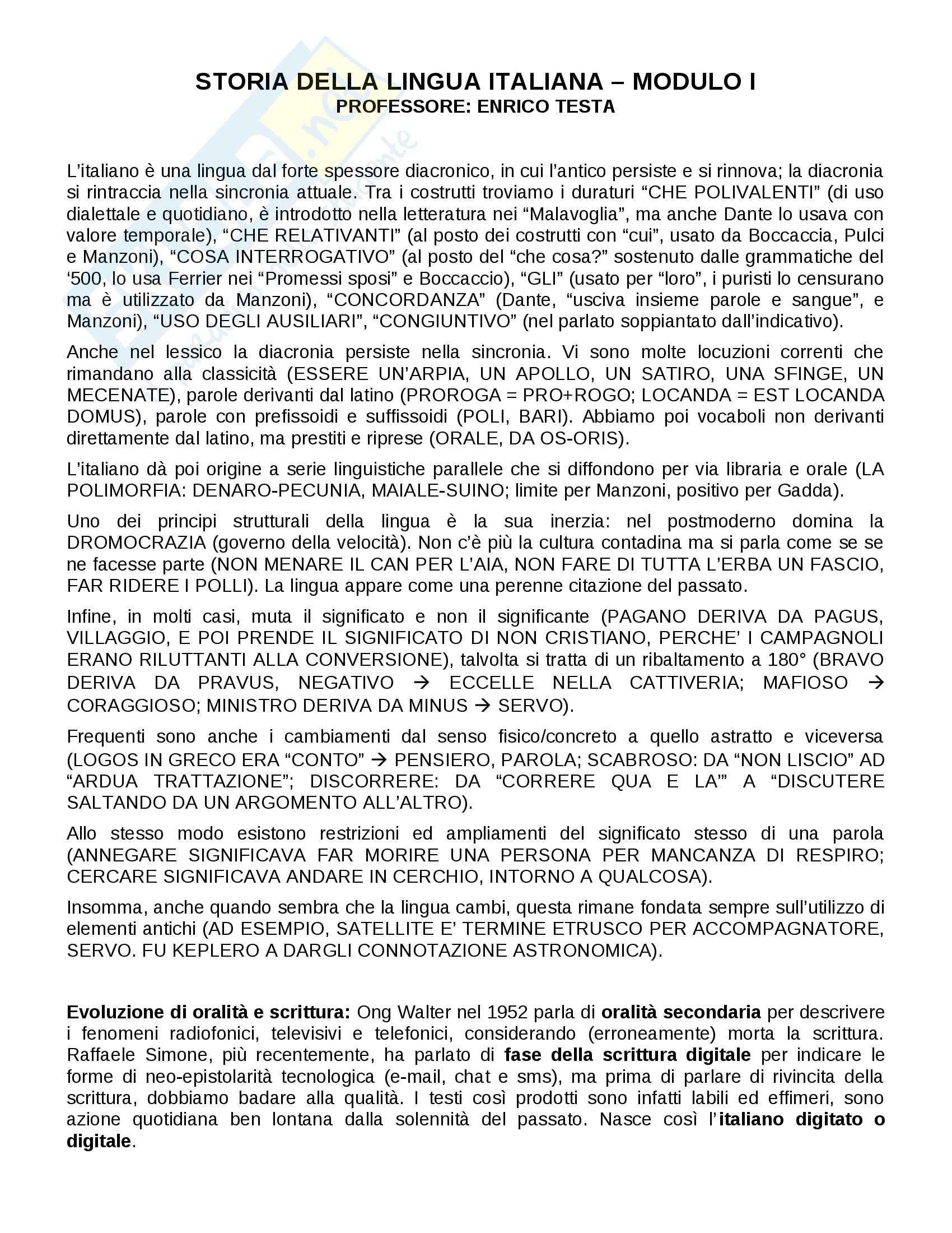 appunto E. Testa Storia della lingua italiana